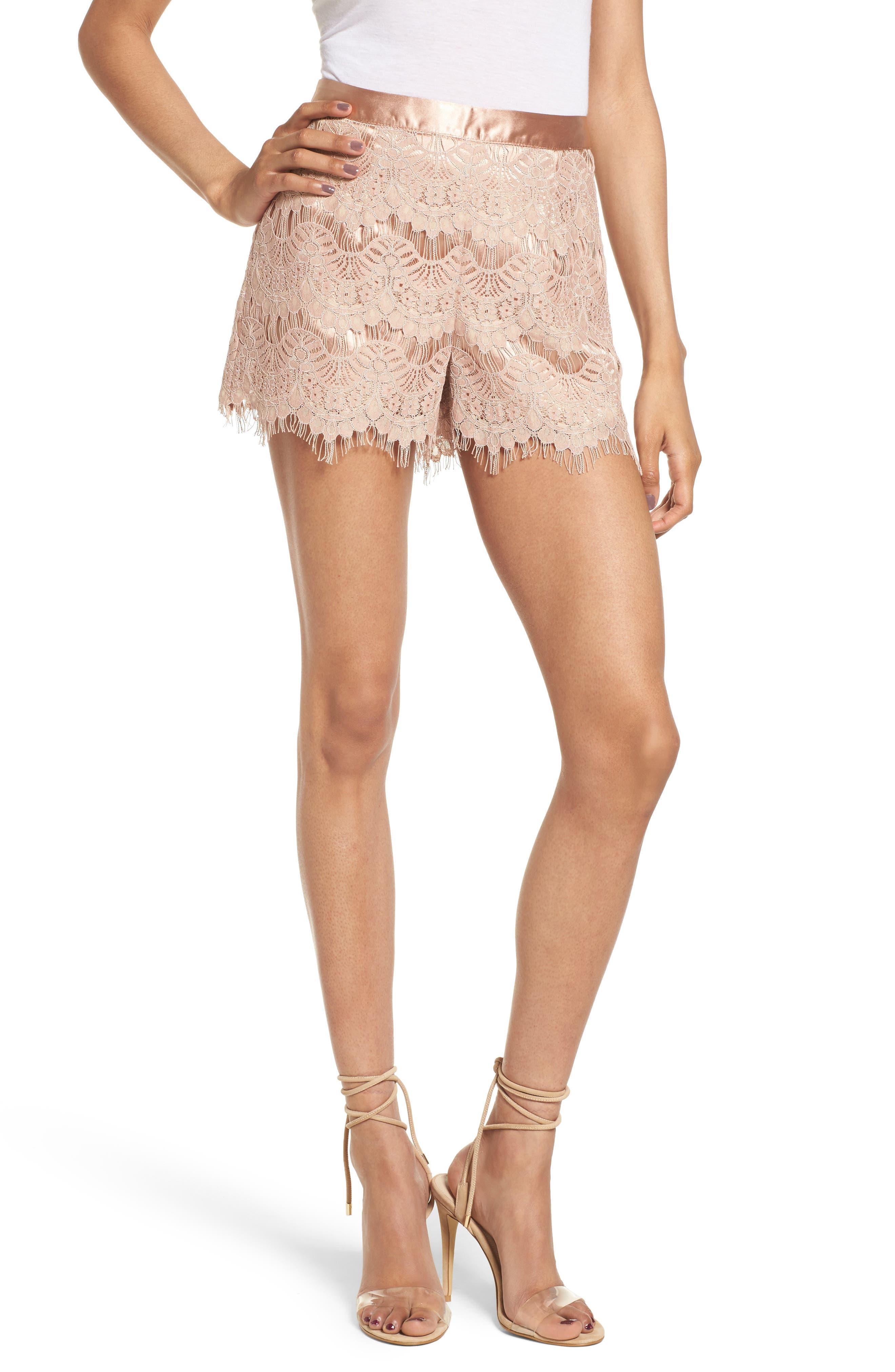 Lace Shorts,                         Main,                         color, Pink Night