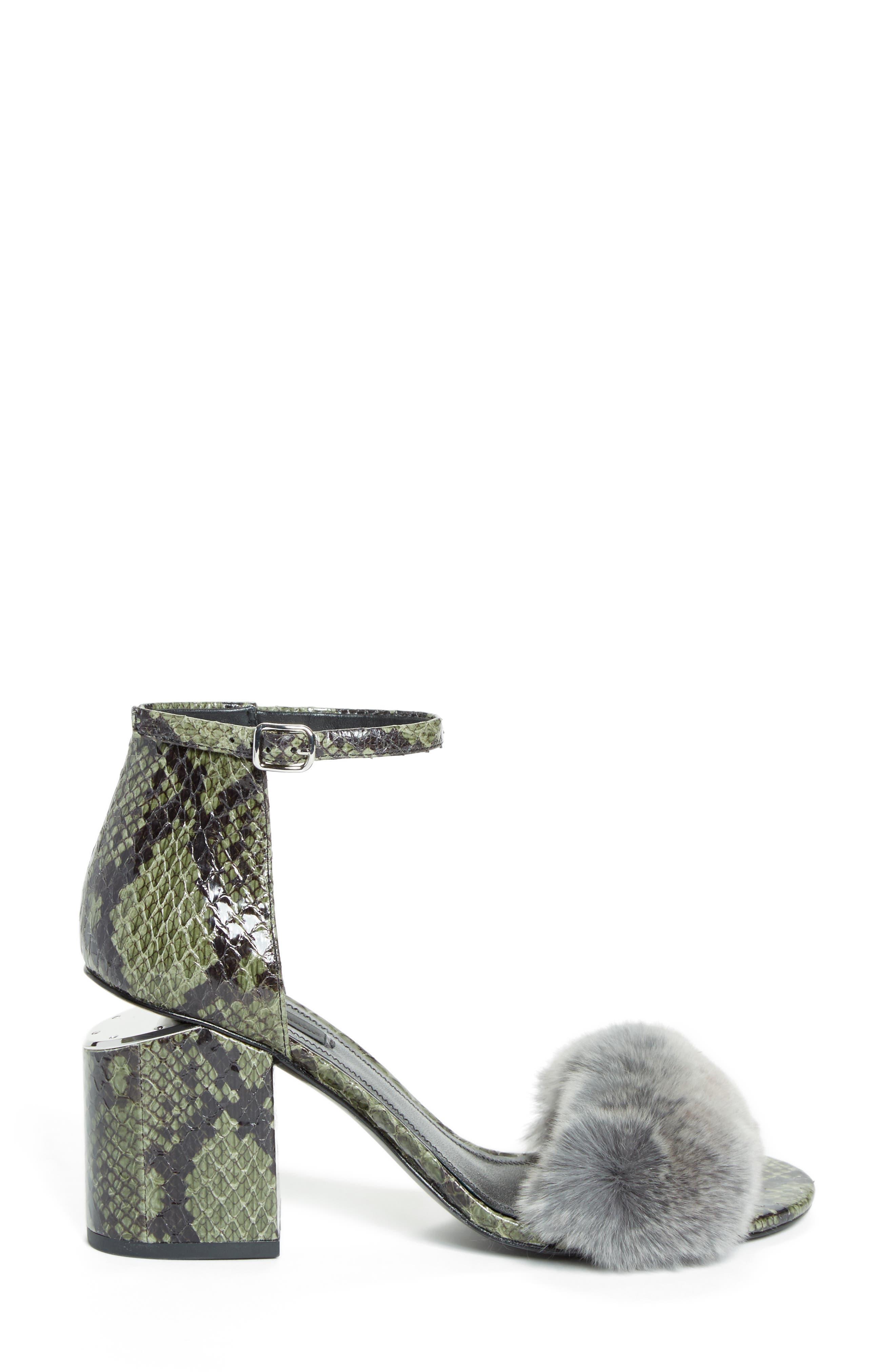 Abby Genuine Rabbit Fur & Snakeskin Sandal,                             Alternate thumbnail 3, color,                             Army