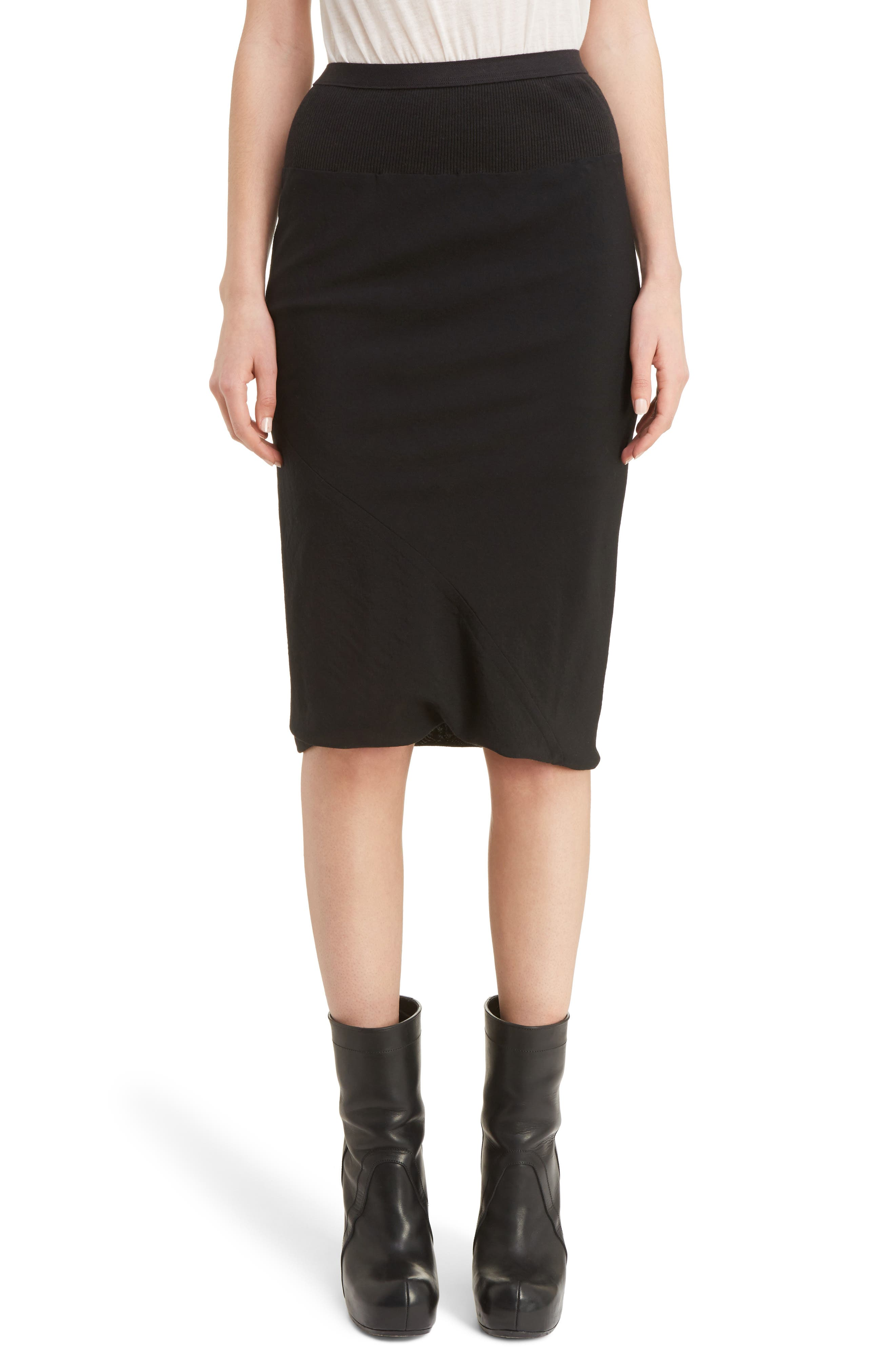 Knit Waist Skirt,                         Main,                         color, Black