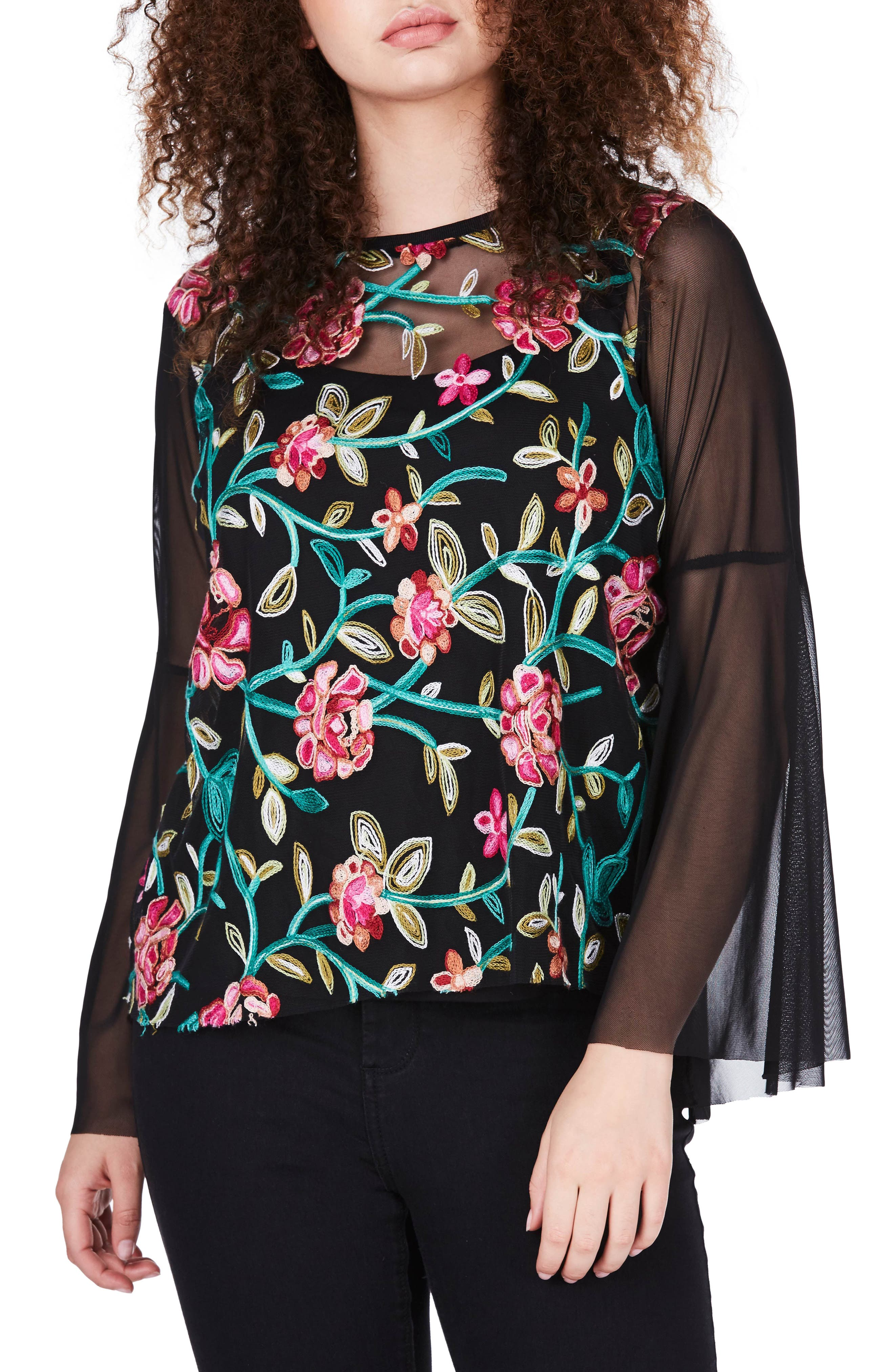 Embroidered Mesh Top,                         Main,                         color, Black