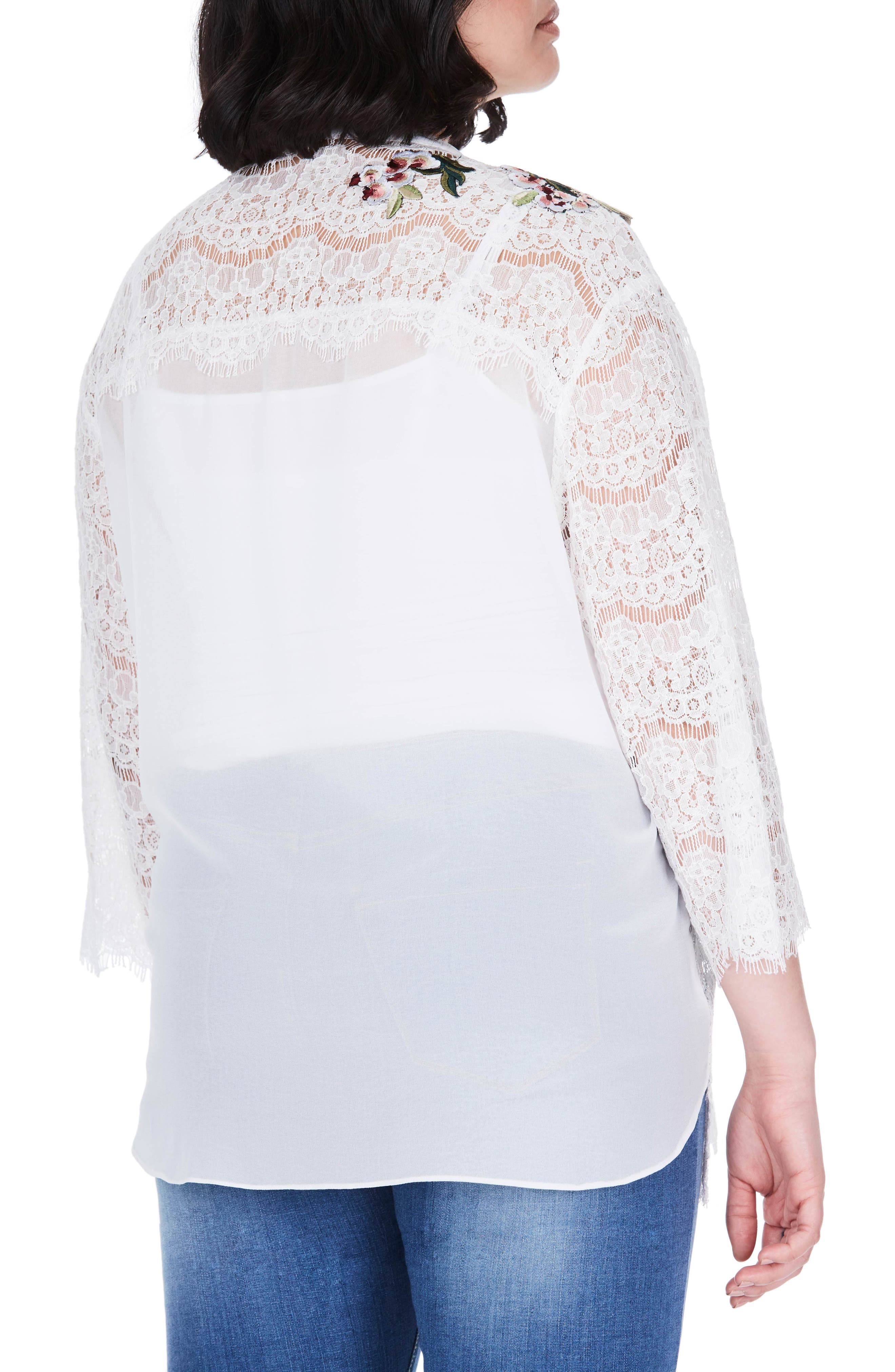 Floral Embroidered Lace Top,                             Alternate thumbnail 2, color,                             White