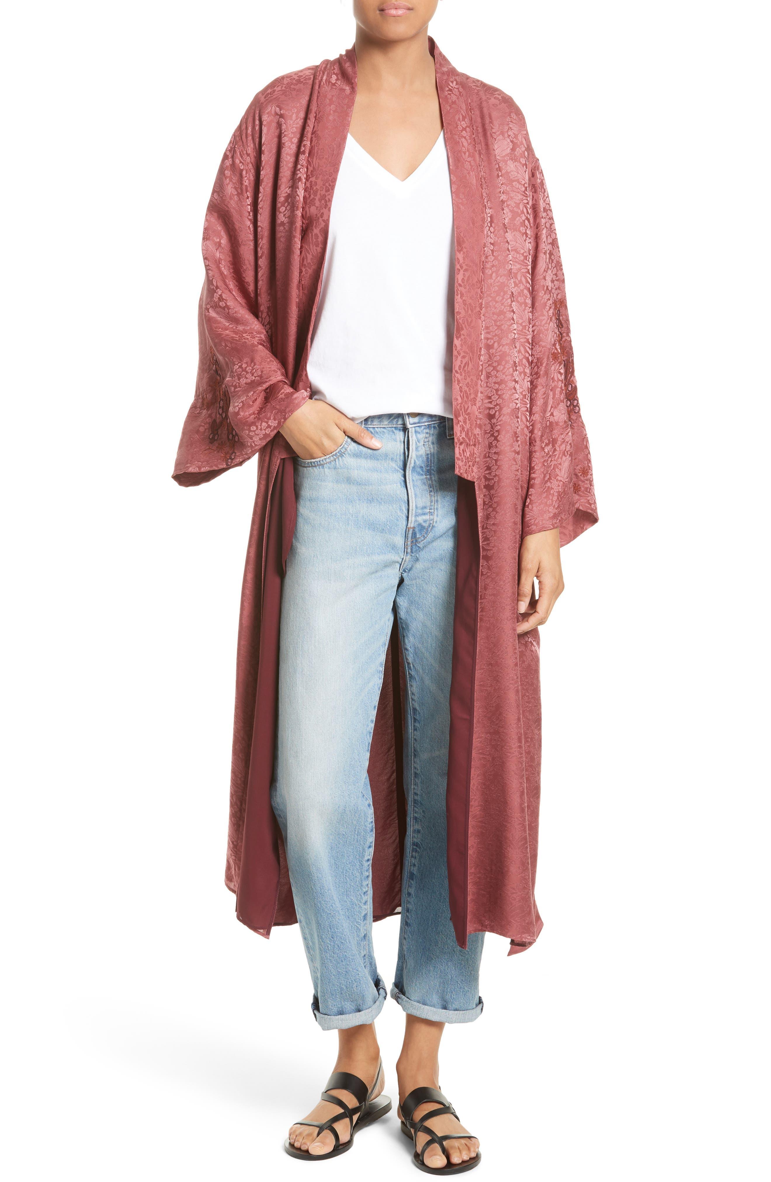 Tracey Jacquard Robe,                         Main,                         color, Rhubarb