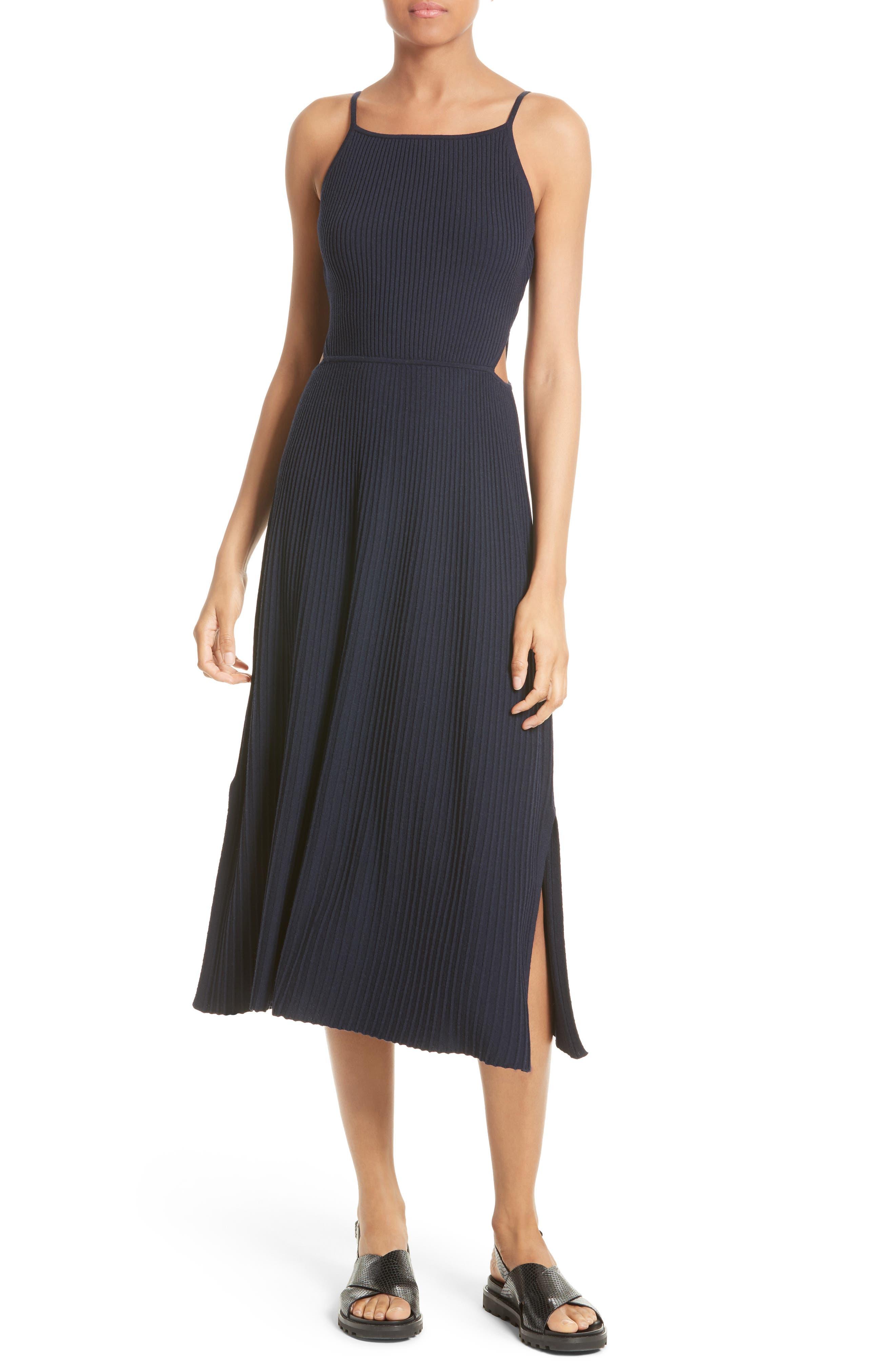 Josette Merino Wool Blend Apron Dress,                             Main thumbnail 1, color,                             Navy