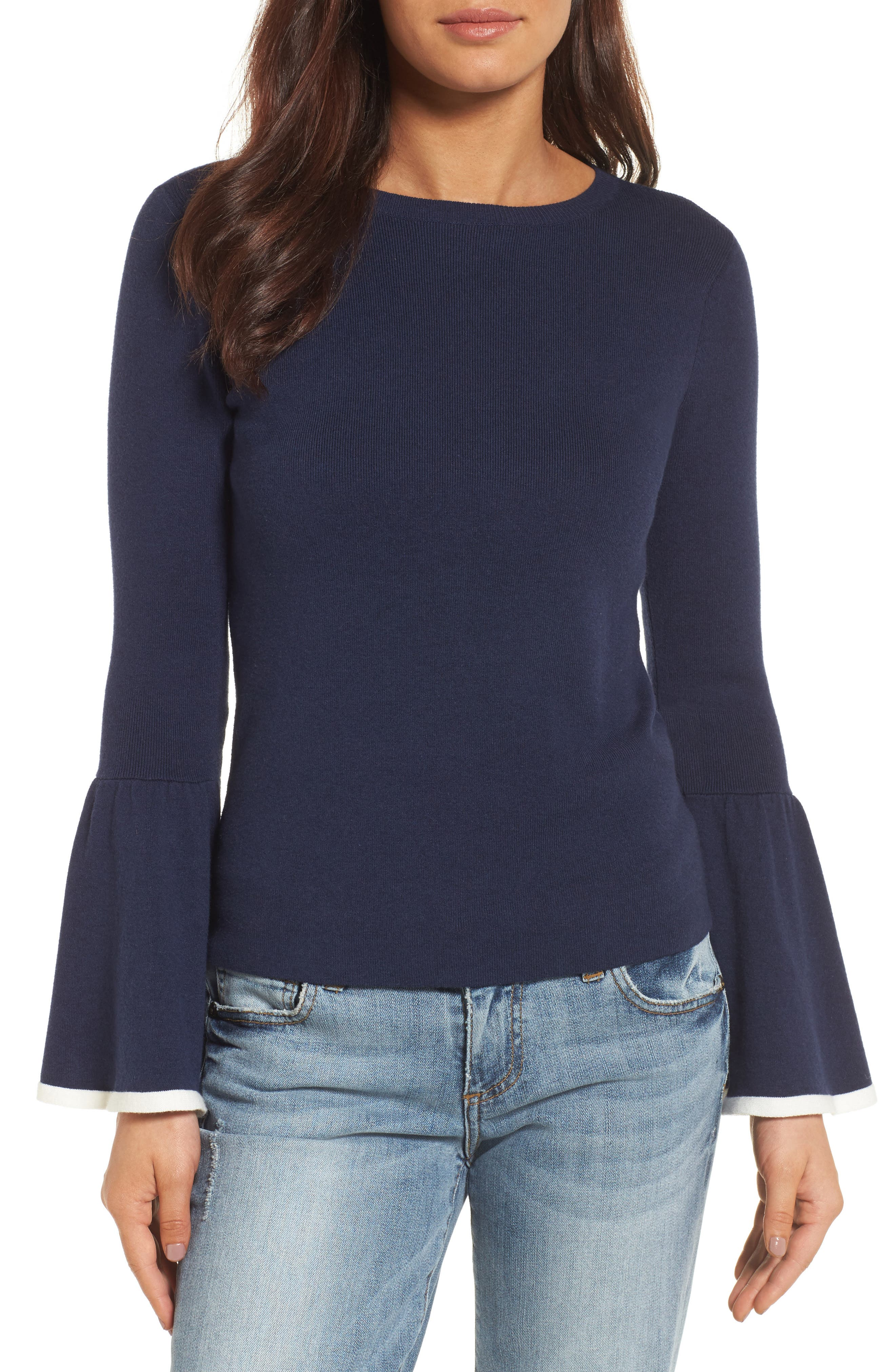 Flare Sleeve Sweater,                             Main thumbnail 1, color,                             Navy Peacoat