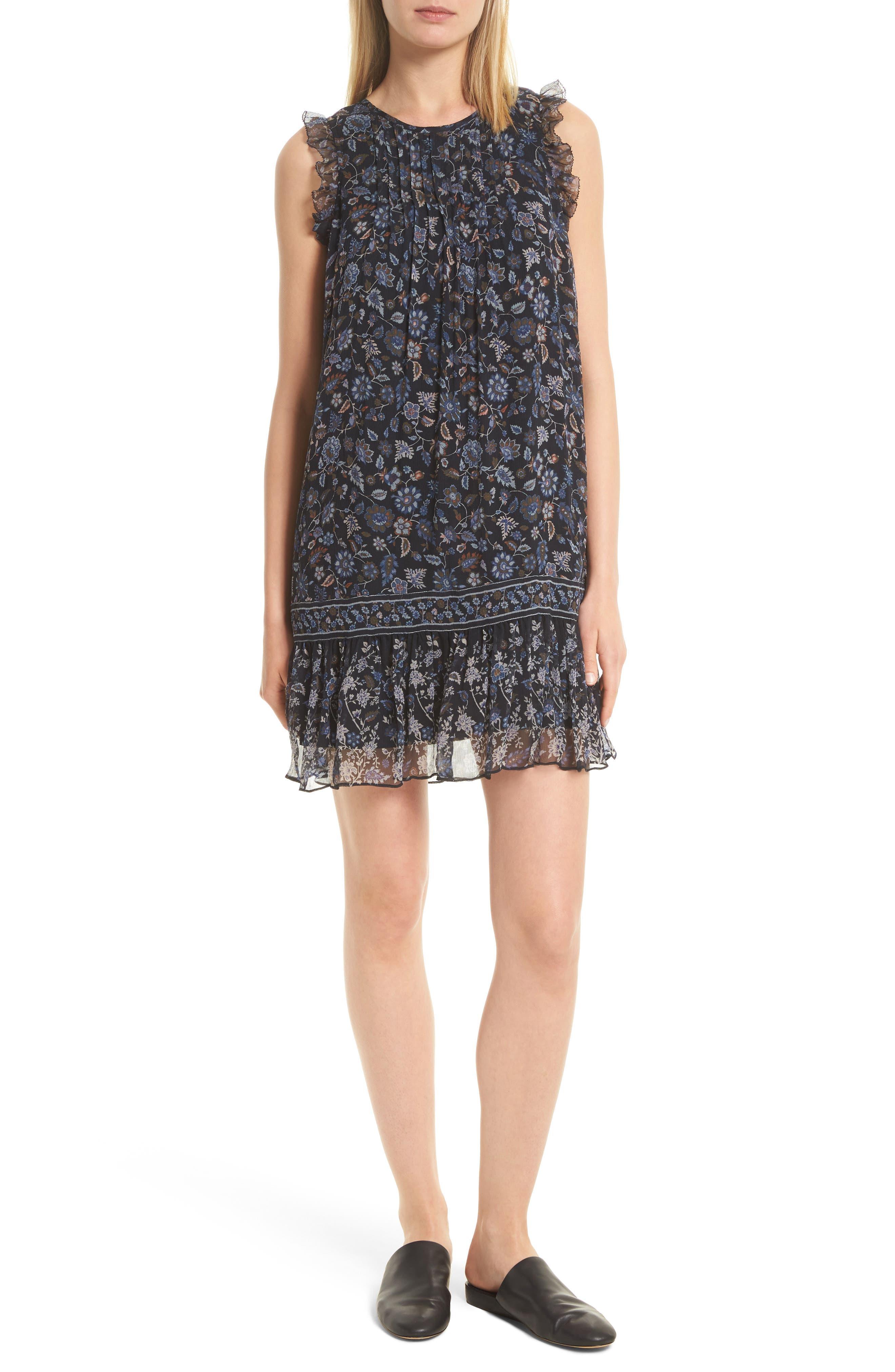 Tahoma B Print Silk Dress,                         Main,                         color, Coralwood