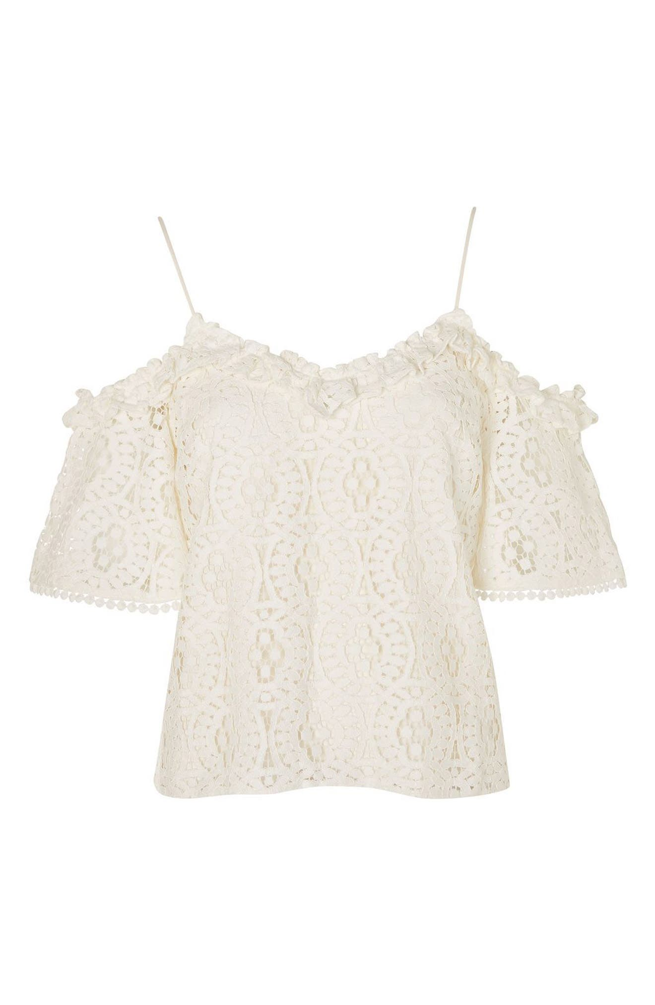 Alternate Image 4  - Topshop Ruffle Lace Off the Shoulder Top