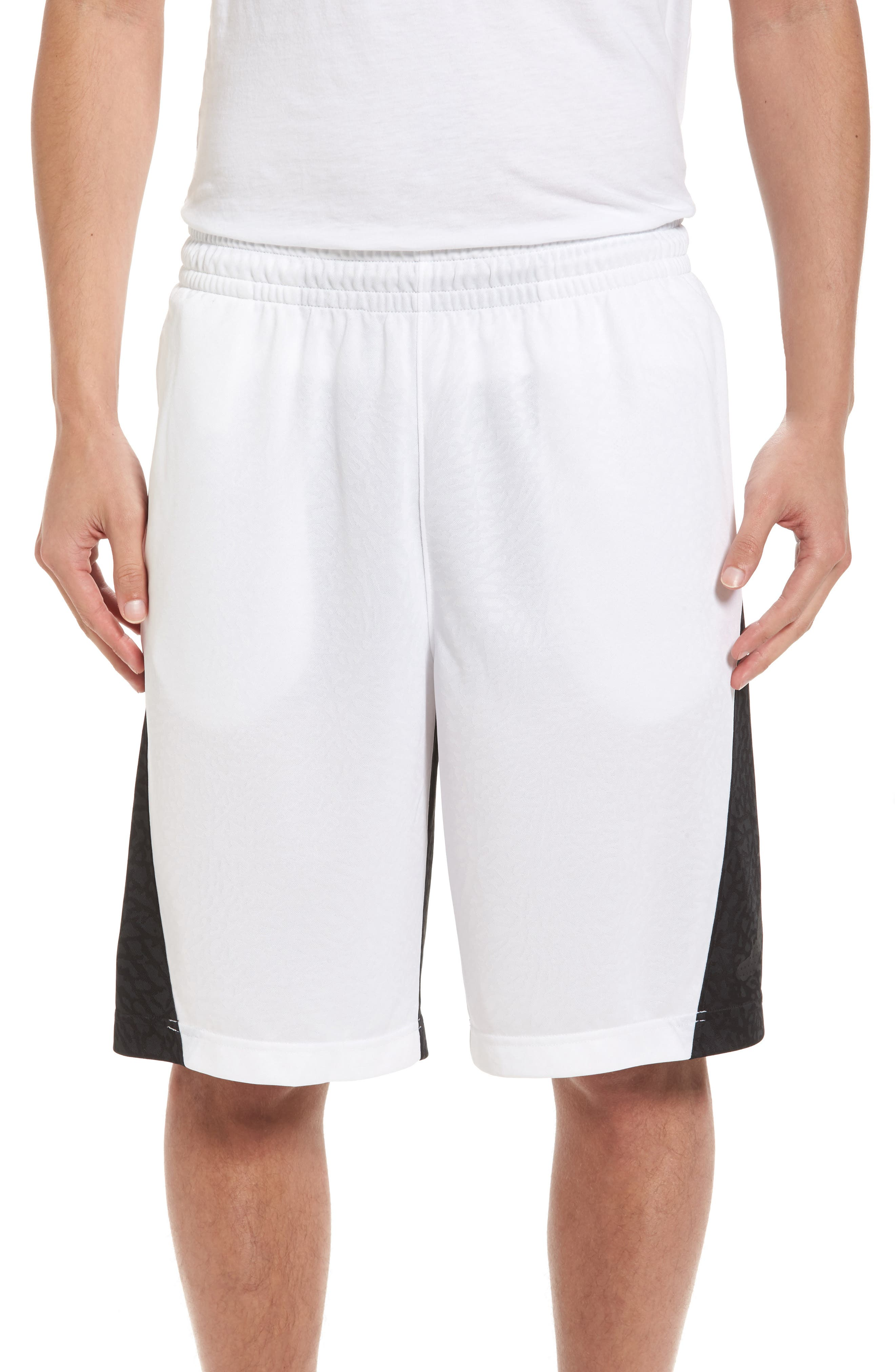 Rise Vertical Basketball Shorts,                         Main,                         color, White/ Black/ Black