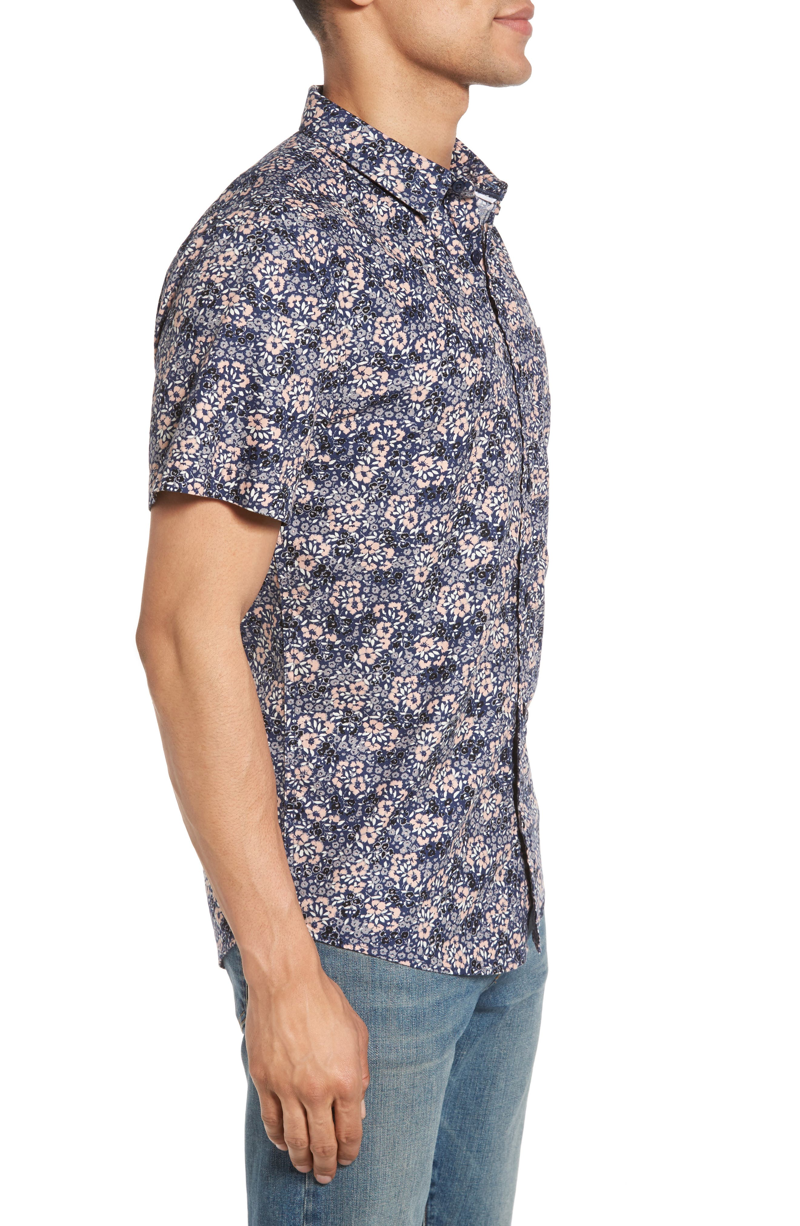 Poplin Floral Shirt,                             Alternate thumbnail 3, color,                             Navy Peacoat Simple Floral