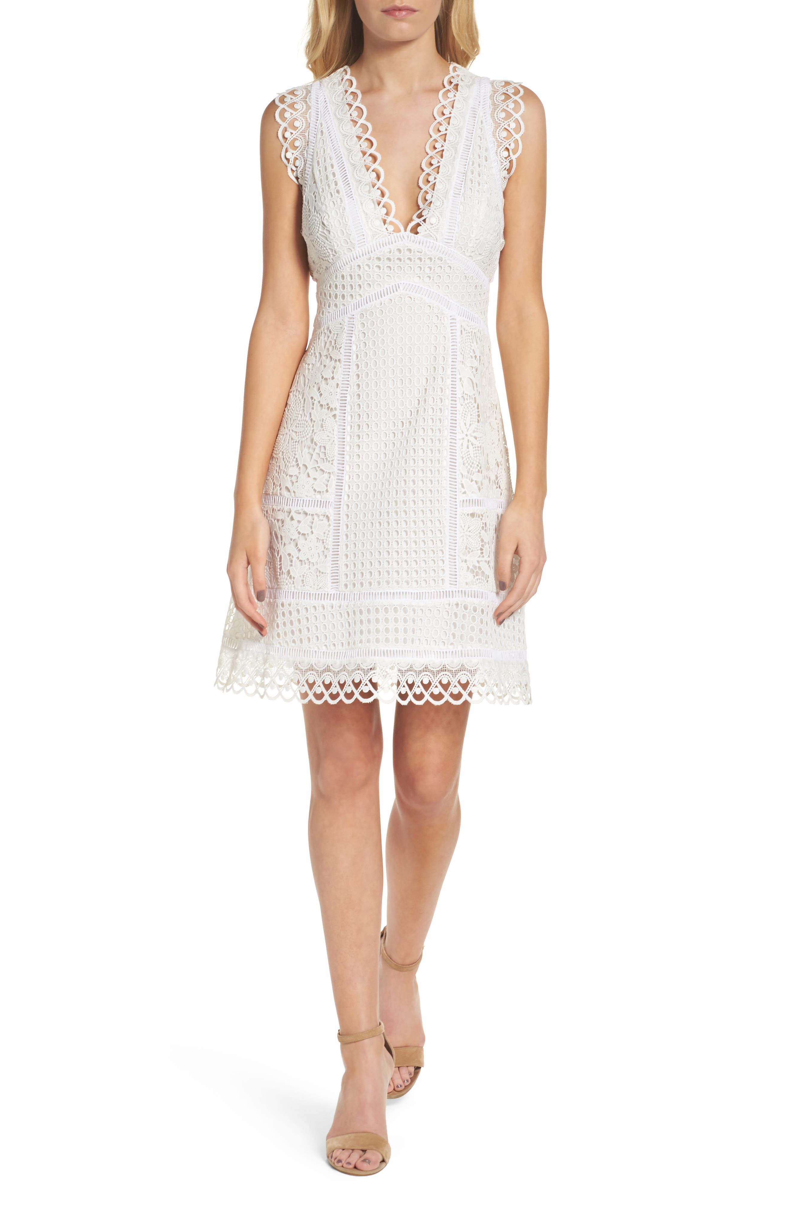 Zahra Fit & Flare Dress,                         Main,                         color, Summer White