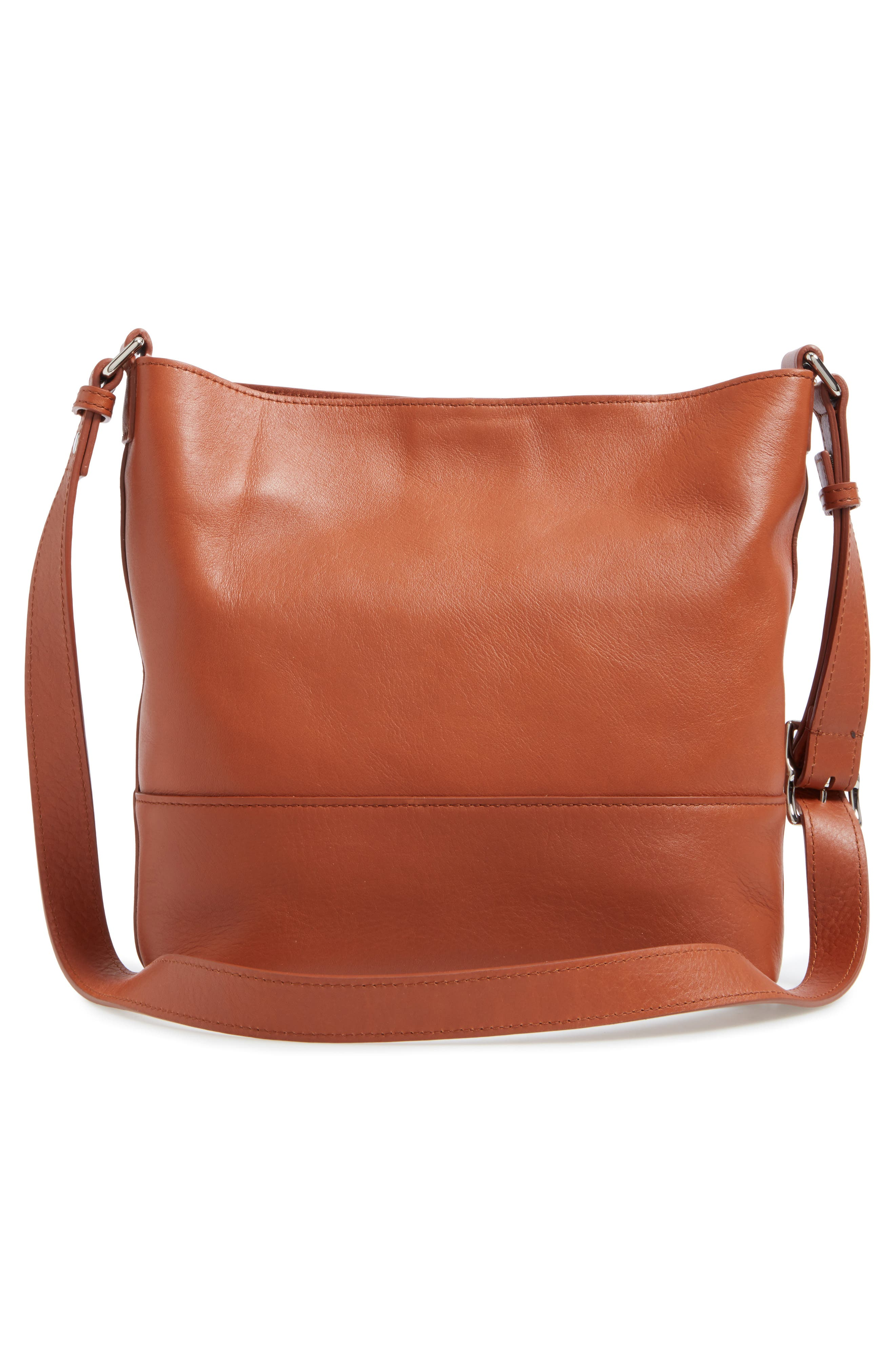 Small Relaxed Leather Hobo Bag,                             Alternate thumbnail 3, color,                             Bourbon