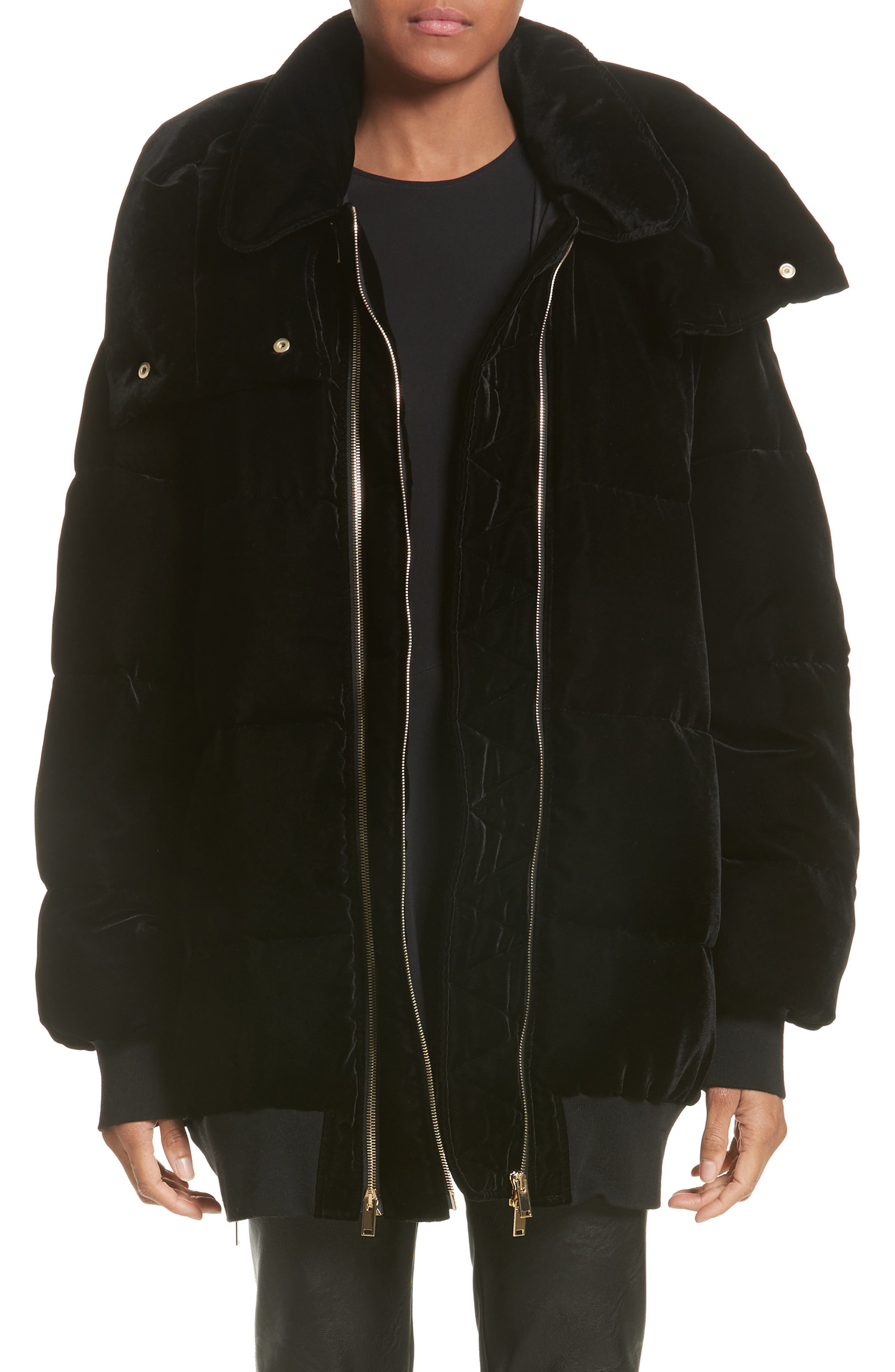 Stella McCartney Velour Puffer Coat