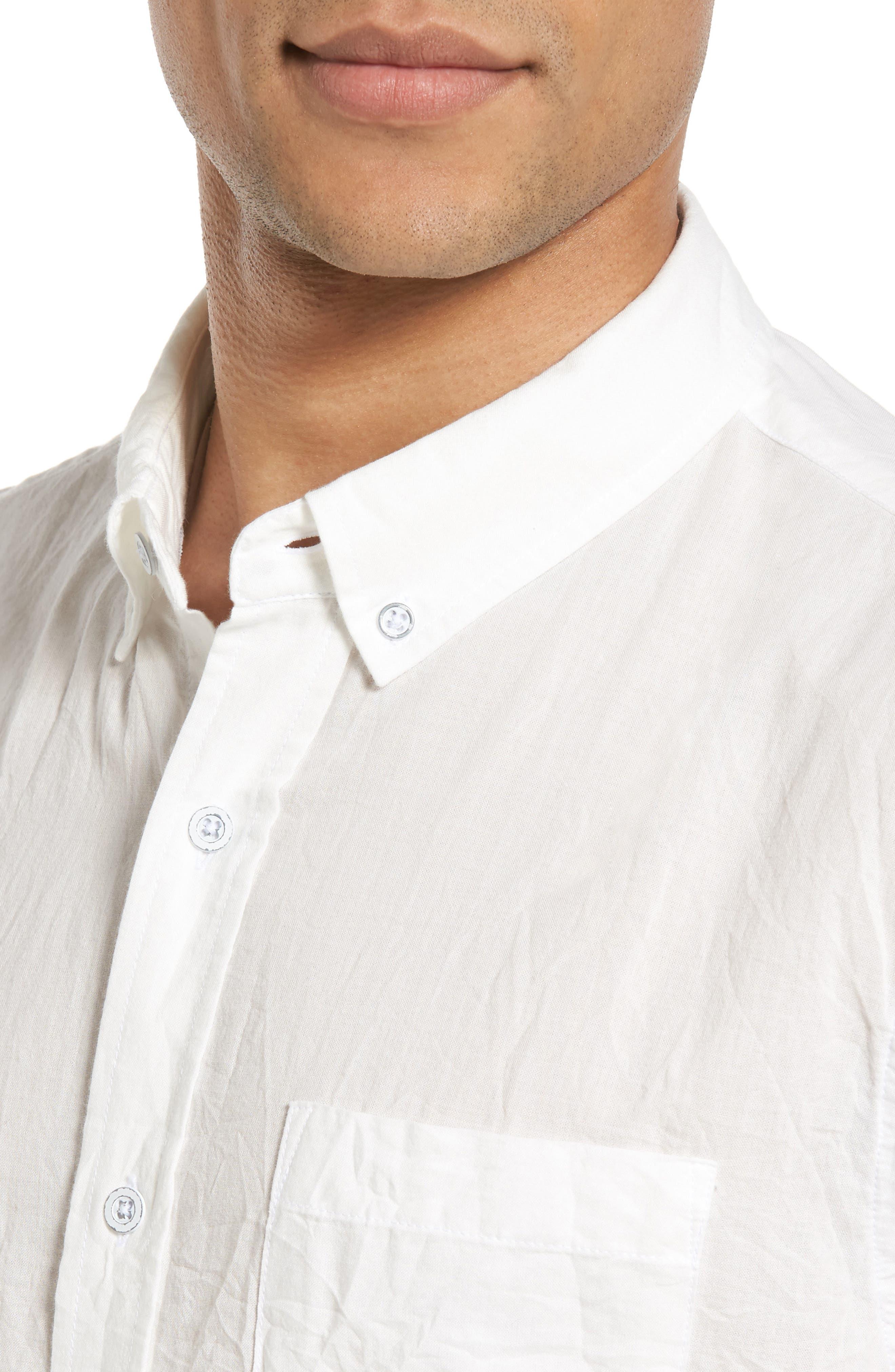 Grady Slim Fit Organic Cotton Sport Shirt,                             Alternate thumbnail 4, color,                             Crinkled True White