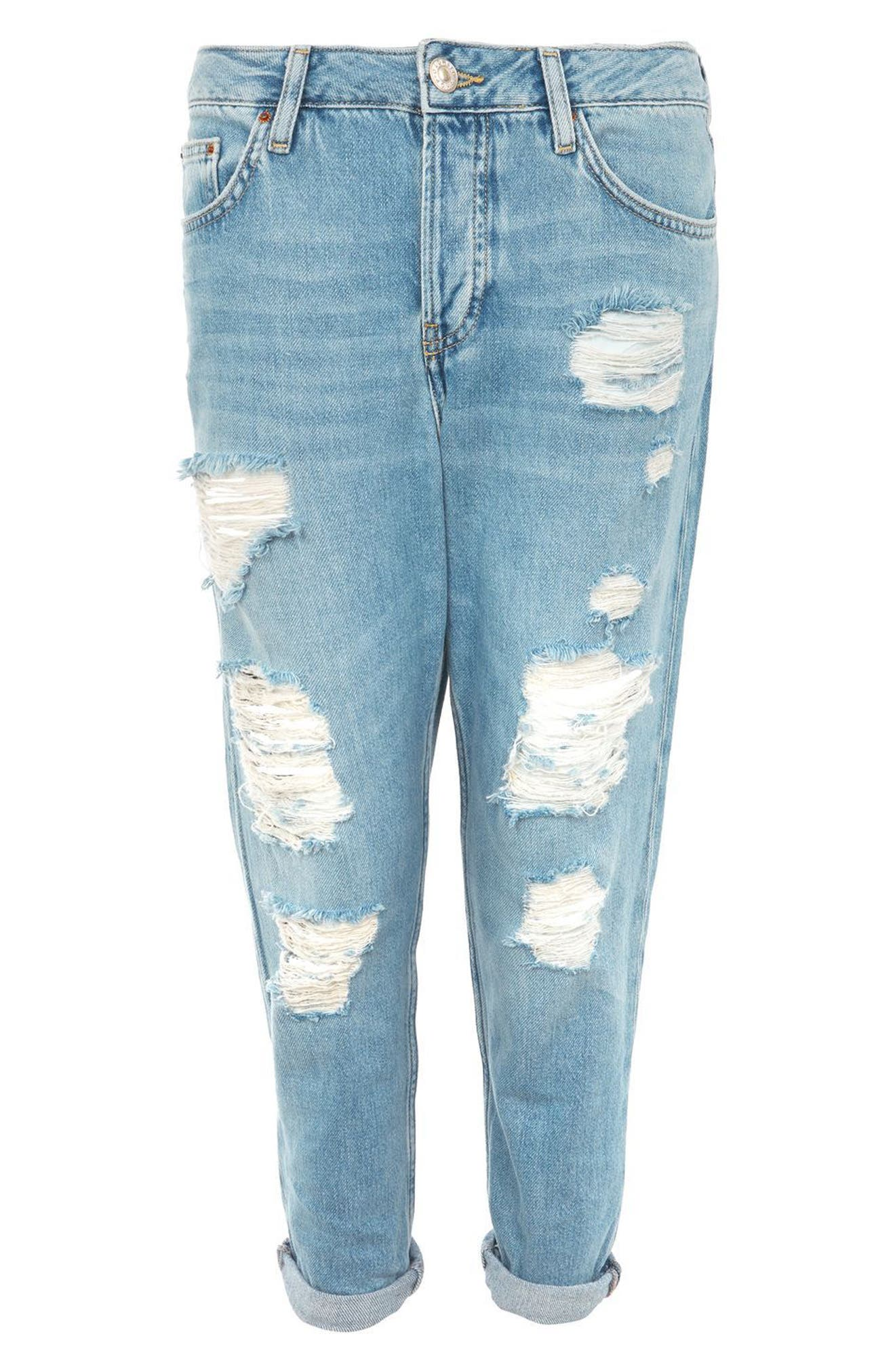 Moto Hayden Super Ripped Boyfriend Jeans,                             Alternate thumbnail 4, color,                             Light Denim