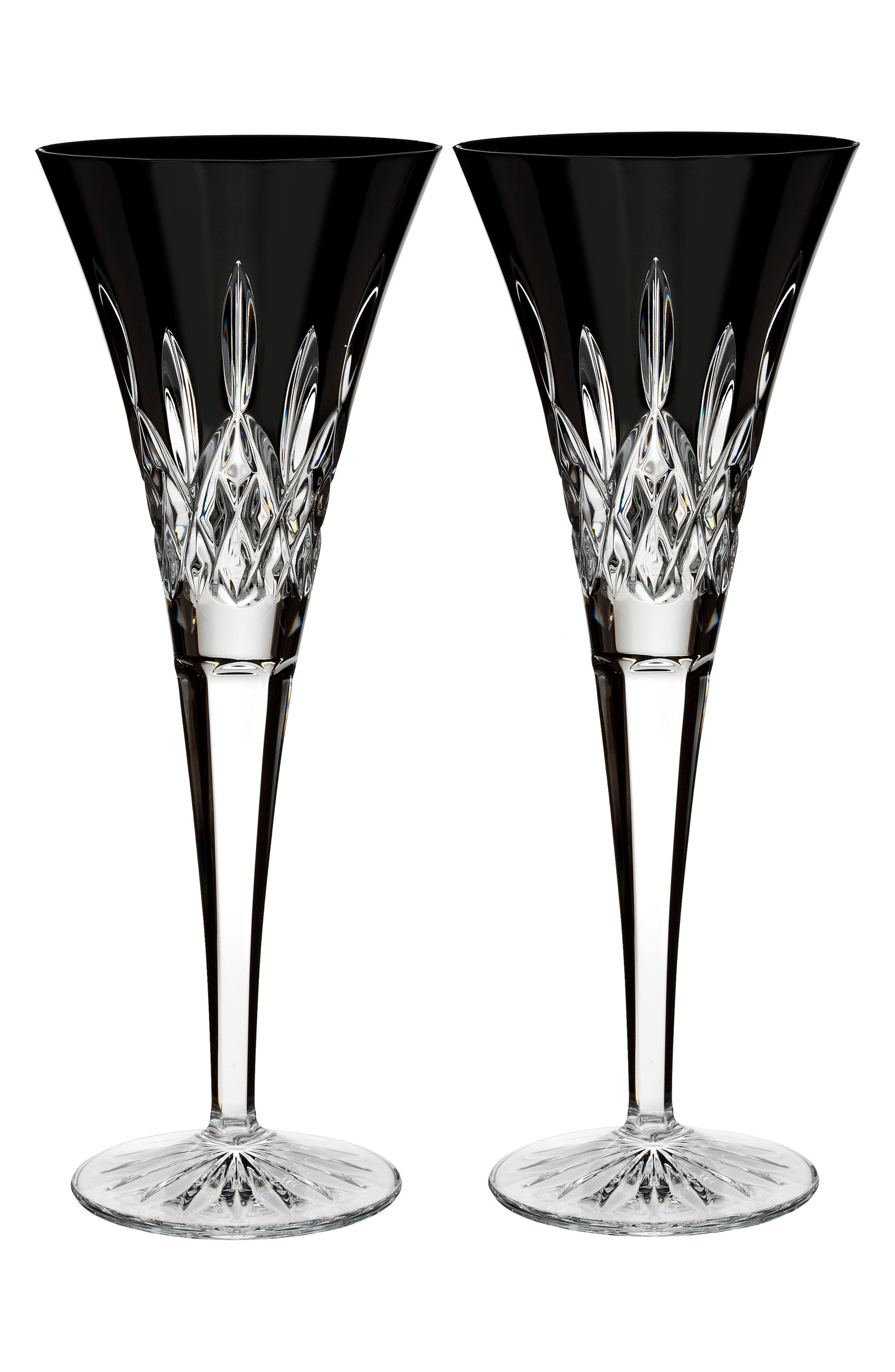 Waterford Lismore Diamond Set of 2 Black Lead Crystal Champagne Flutes