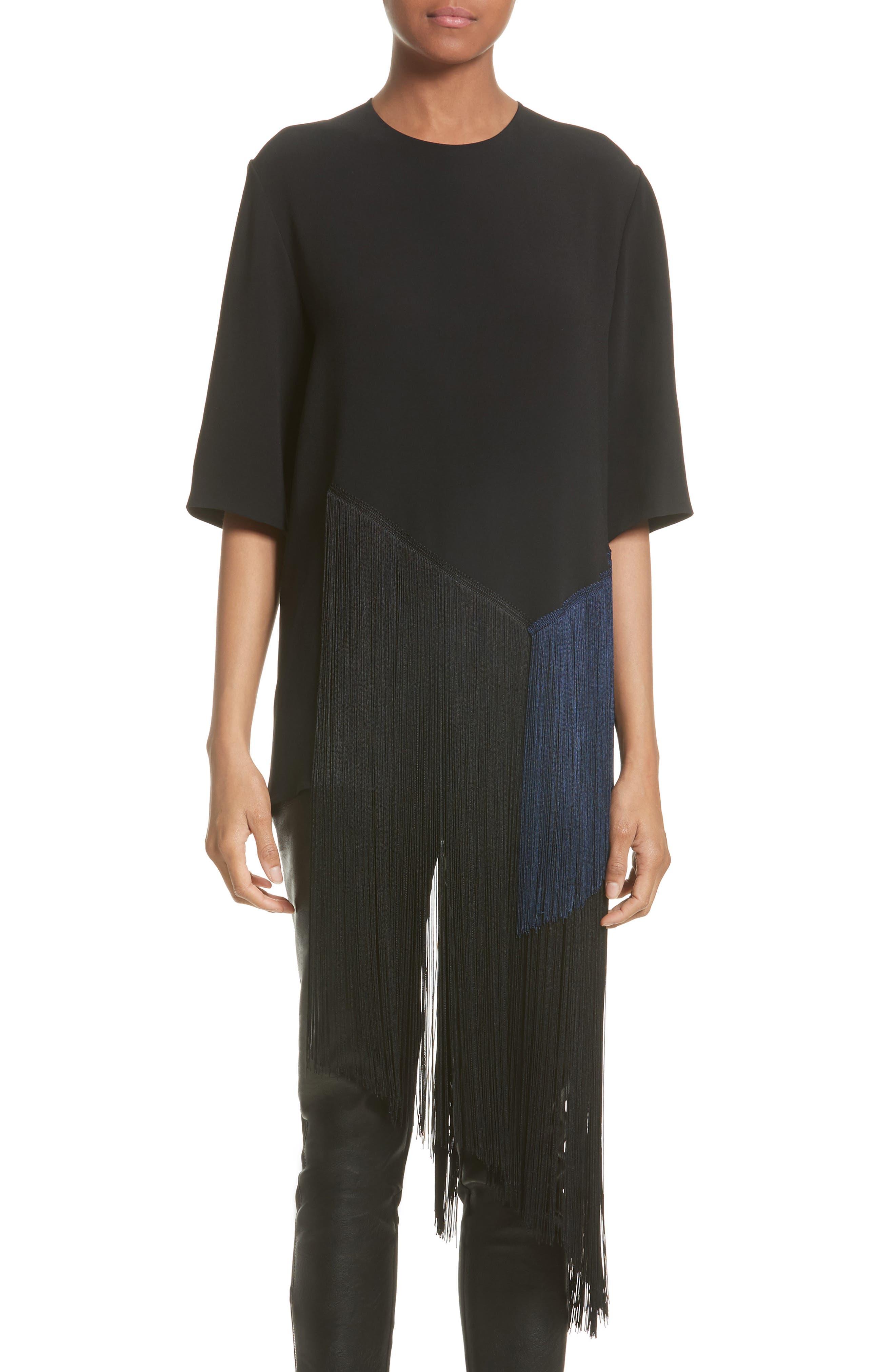 Stretch Cady Fringe Top,                         Main,                         color, Black