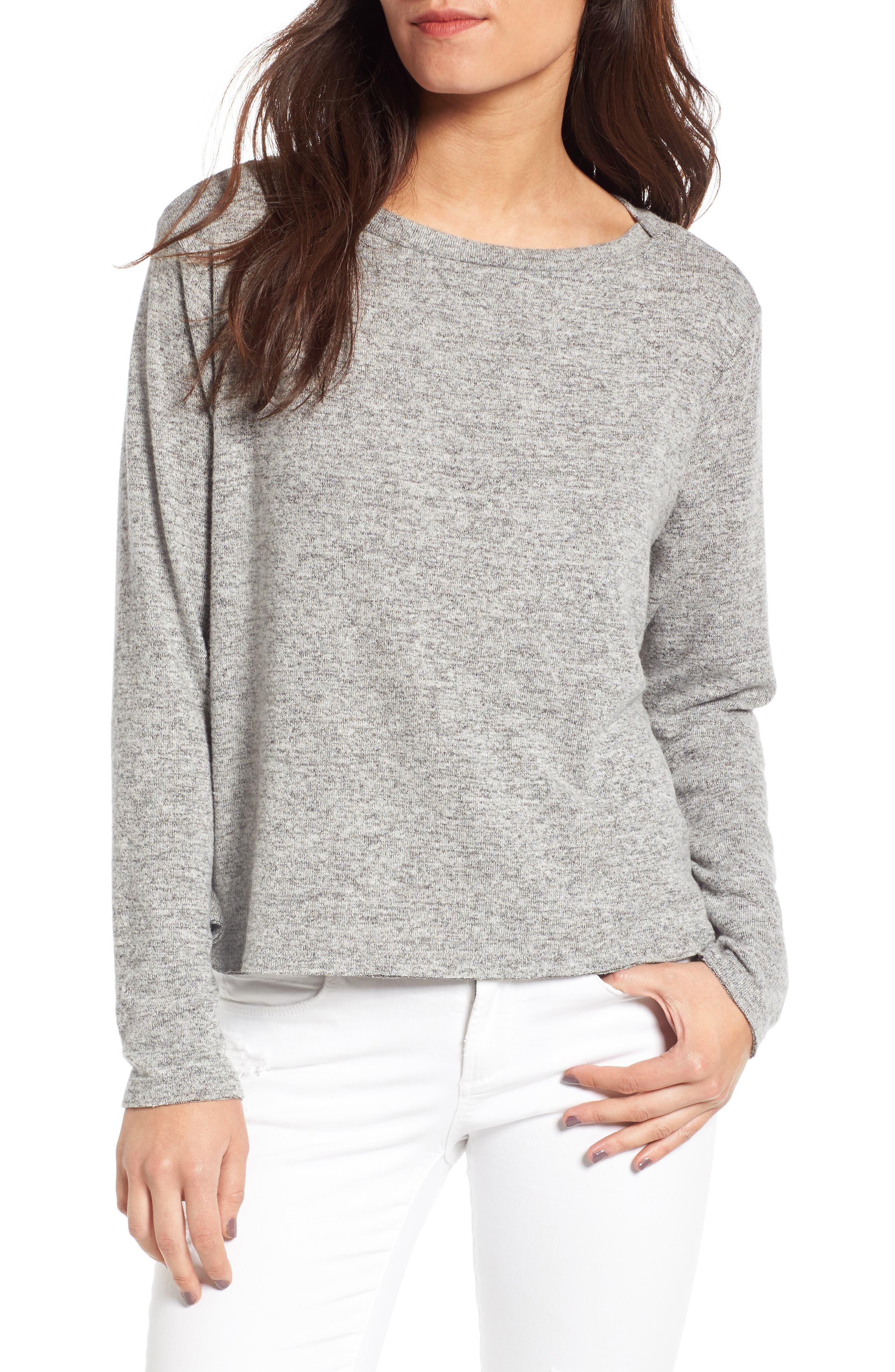 Boatneck Pullover,                         Main,                         color, Grey Medium Heather