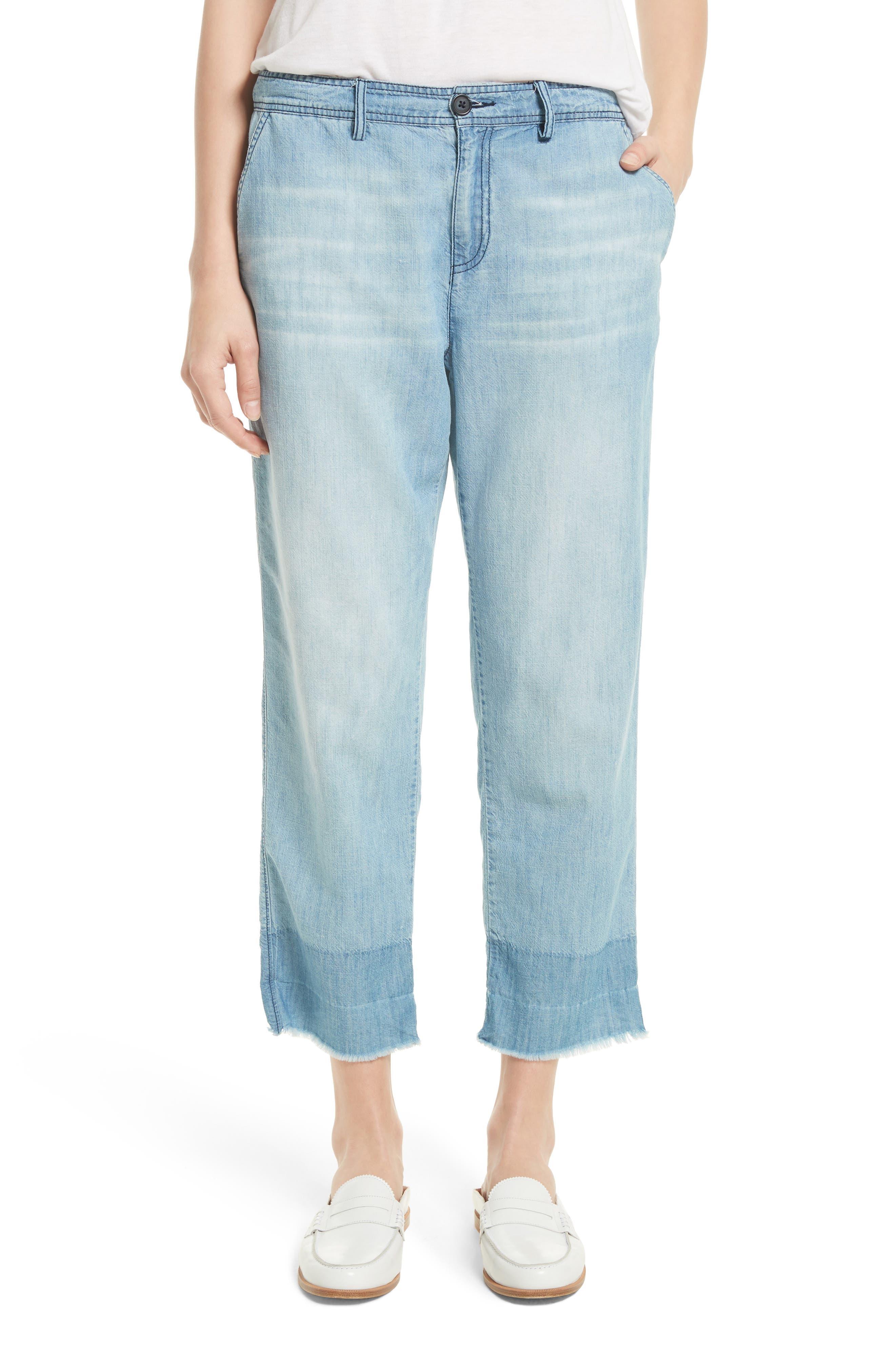 Marinne Crop Chambray Pants,                         Main,                         color, Vintage Chambray