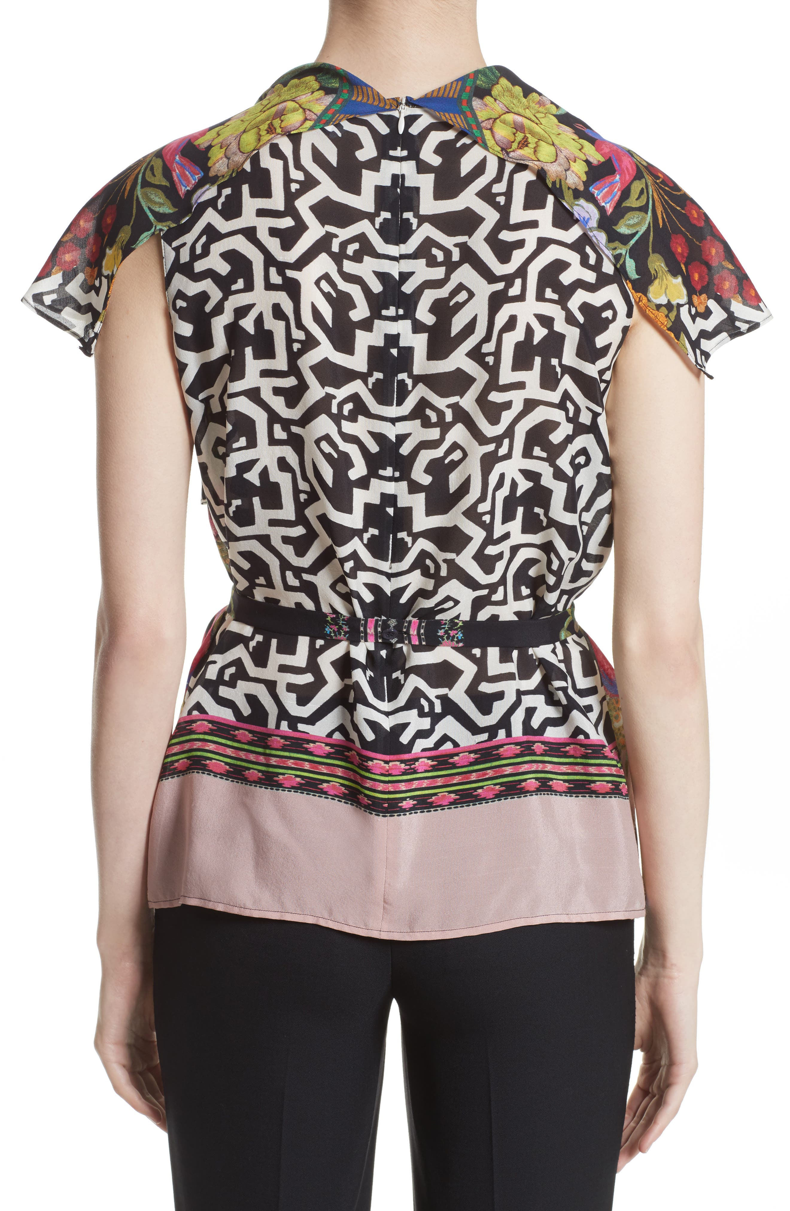 Floral & Maze Print Silk Blouse,                             Alternate thumbnail 2, color,                             Pink