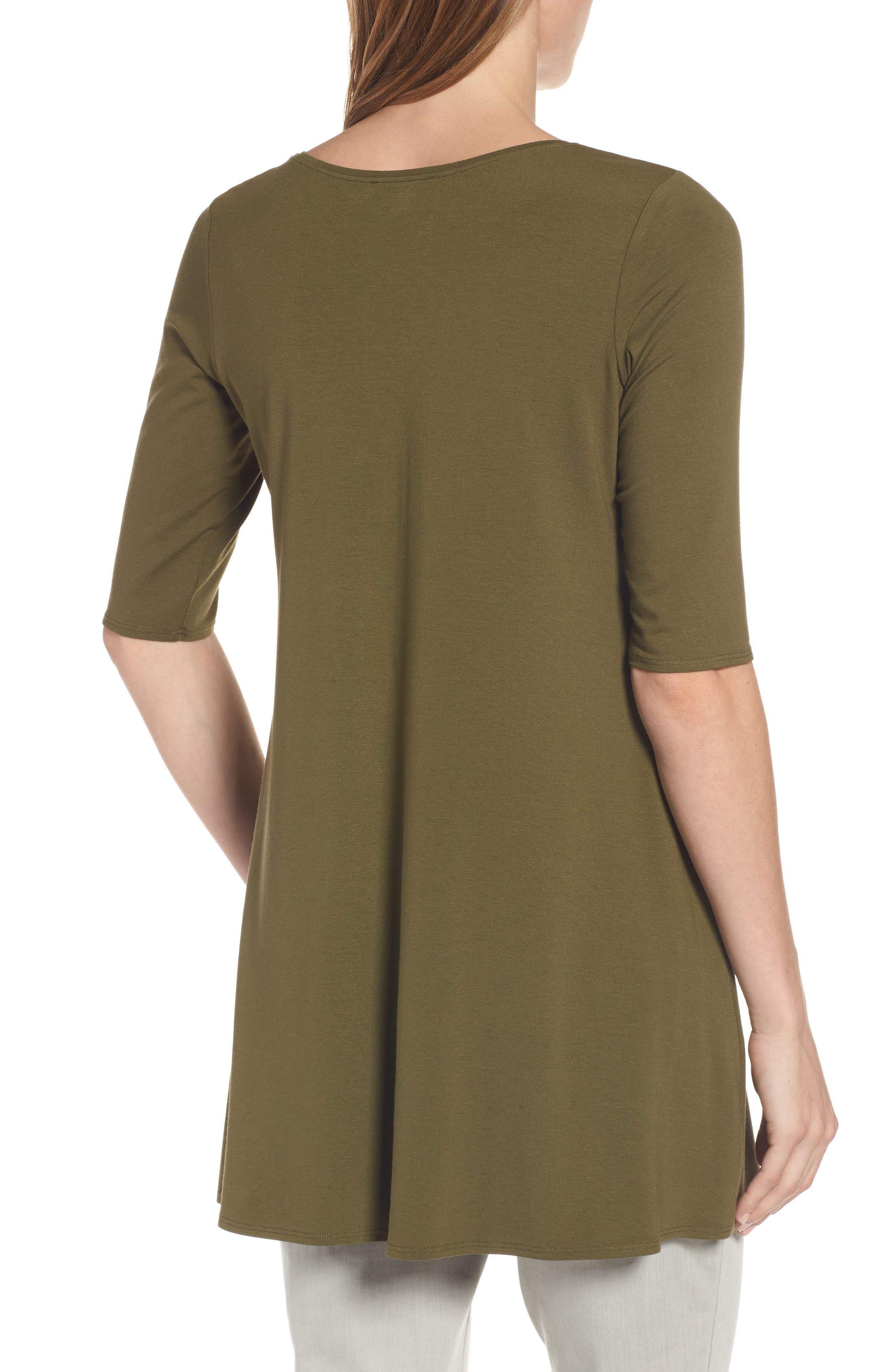 Alternate Image 2  - Eileen Fisher Scoop Neck Elbow Sleeve Jersey Tunic (Regular & Petite) (Online Only)