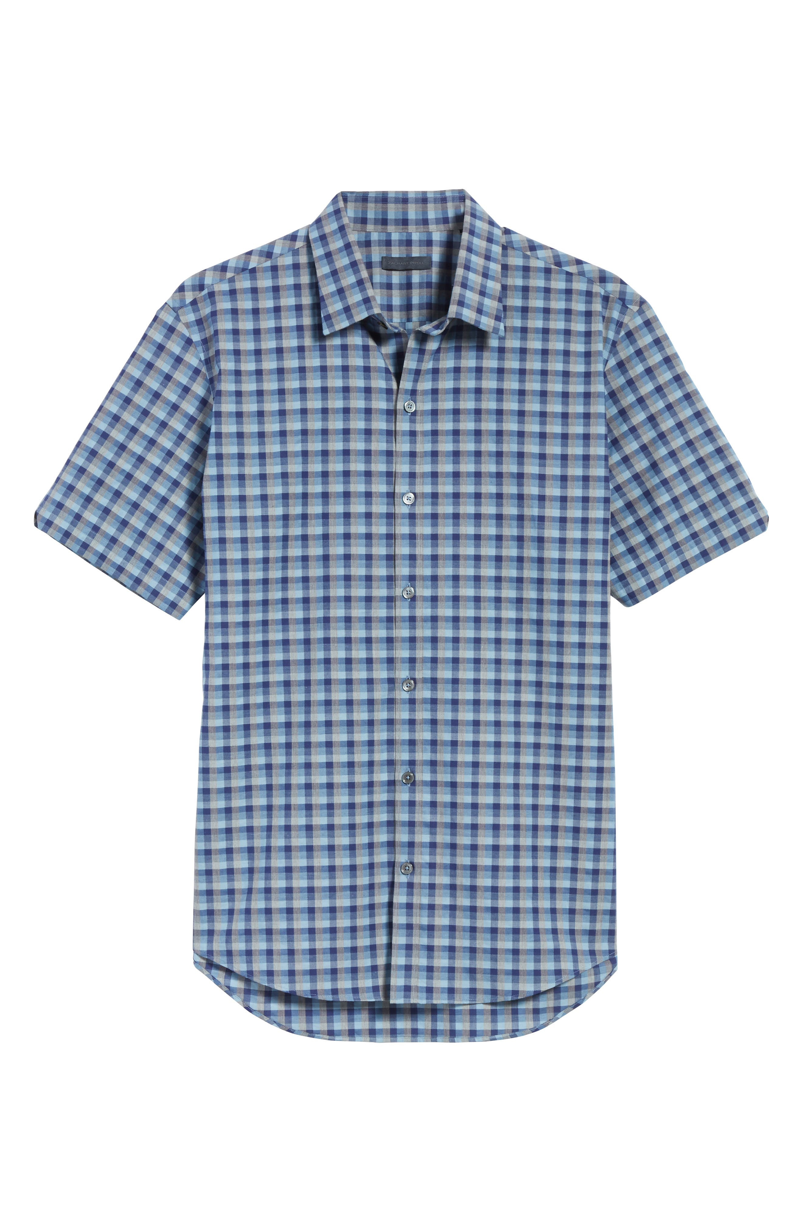 Check Short Sleeve Sport Shirt,                             Alternate thumbnail 6, color,                             Blue