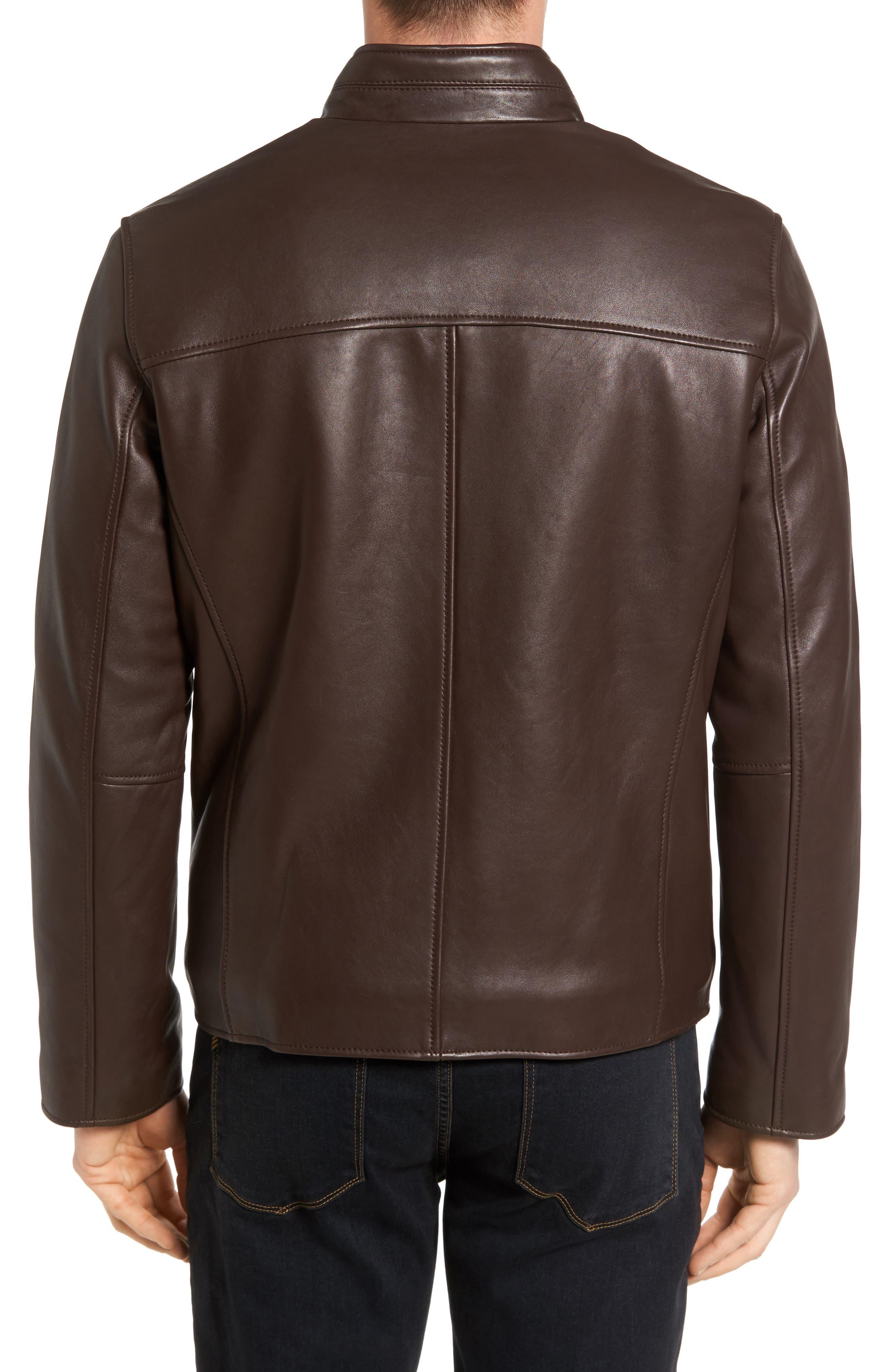 Alternate Image 2  - Cole Haan Lambskin Leather Moto Jacket