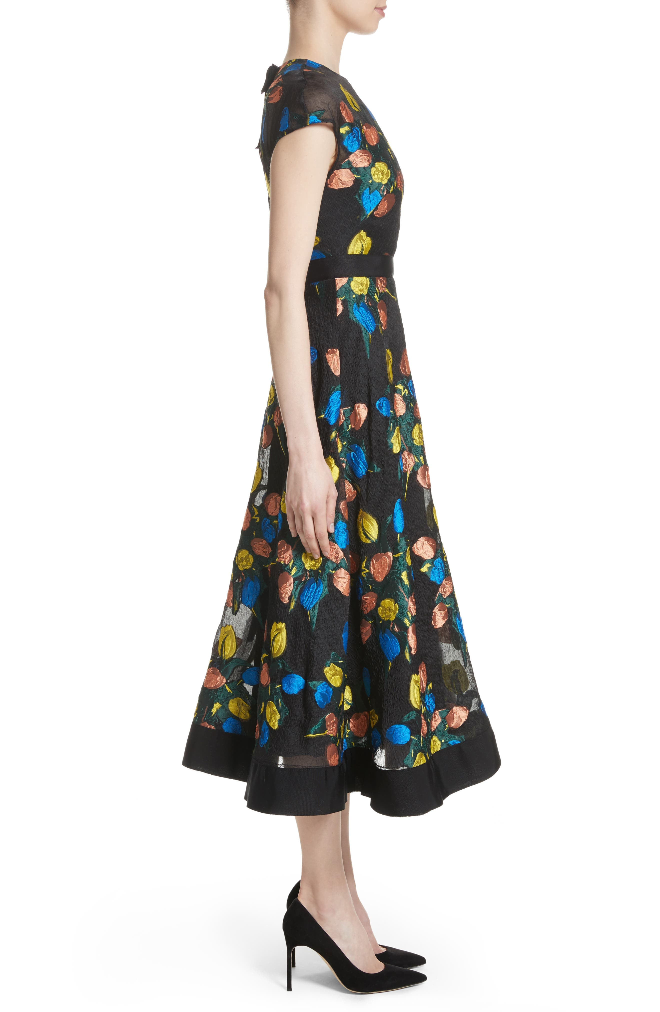 Alternate Image 5  - Lela Rose Tulip Embroidered Fit & Flare Dress