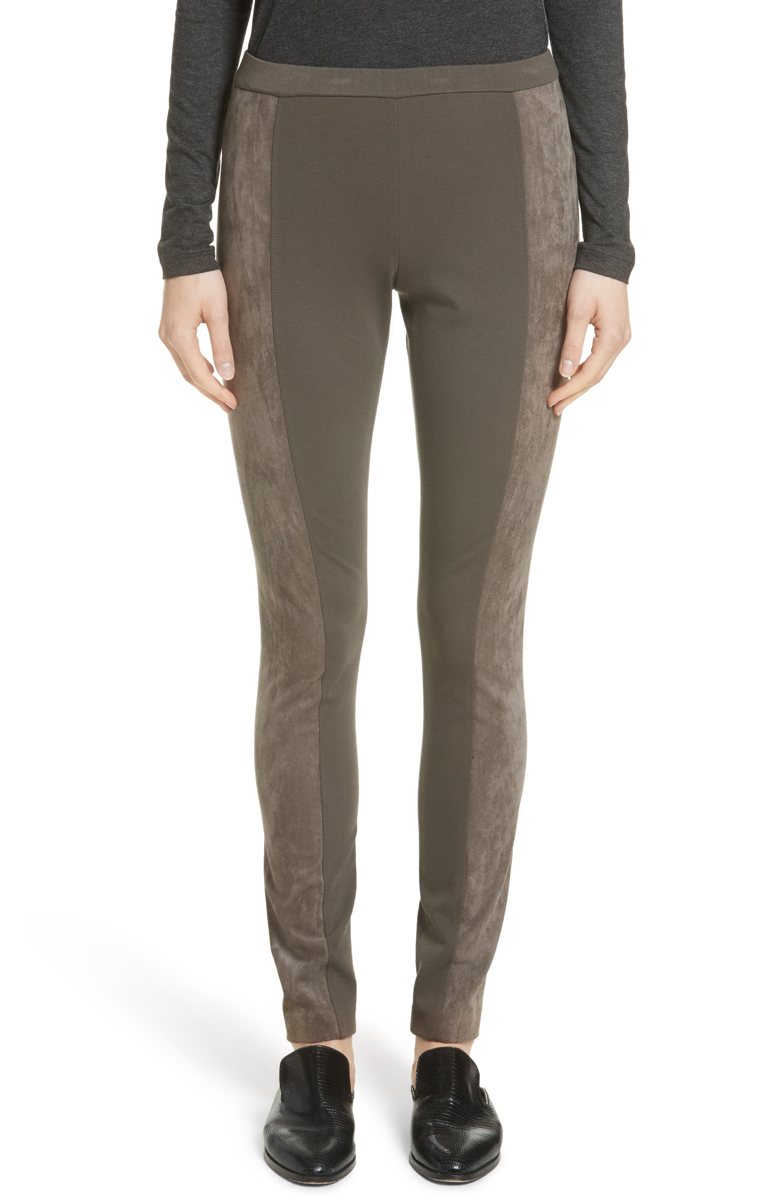 Lafayette 148 New York Punto Milano Faux Suede Paneled Leggings (Nordstrom Exclusive)