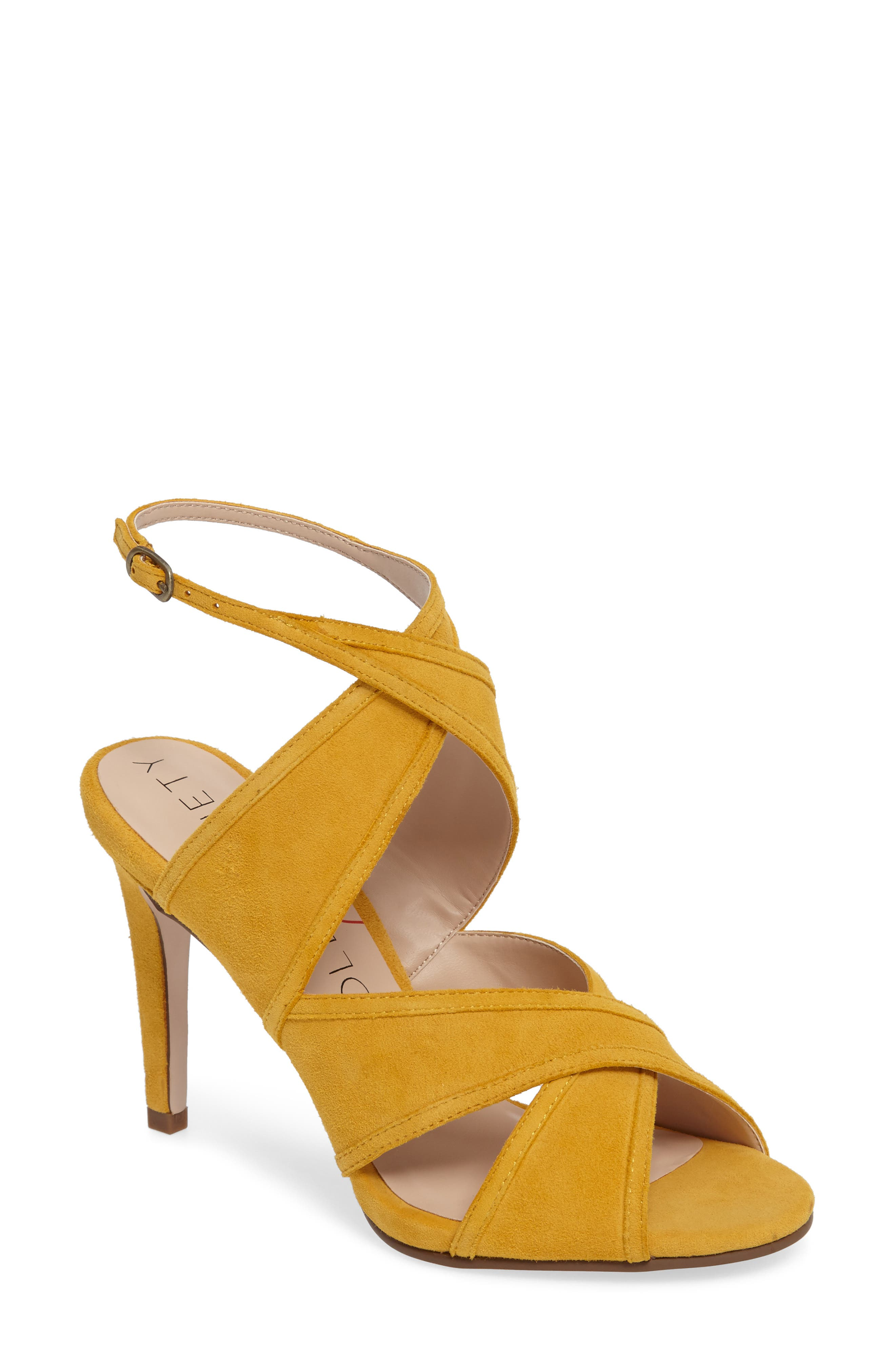 Esme Cross Strap Sandal,                             Main thumbnail 1, color,                             Spicy Mustard Suede