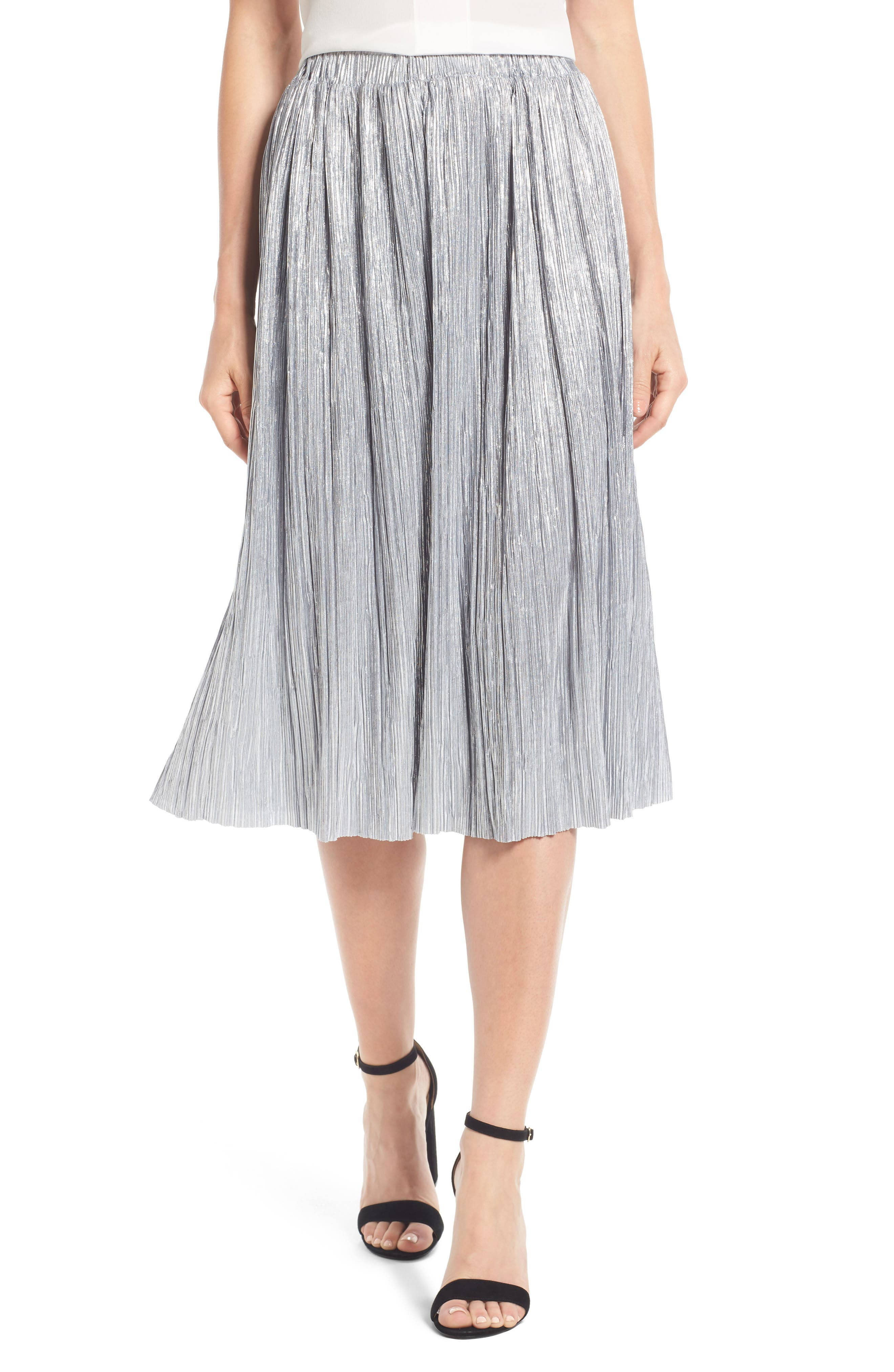 Alternate Image 1 Selected - Vince Camuto Pleat Foiled Knit Skirt