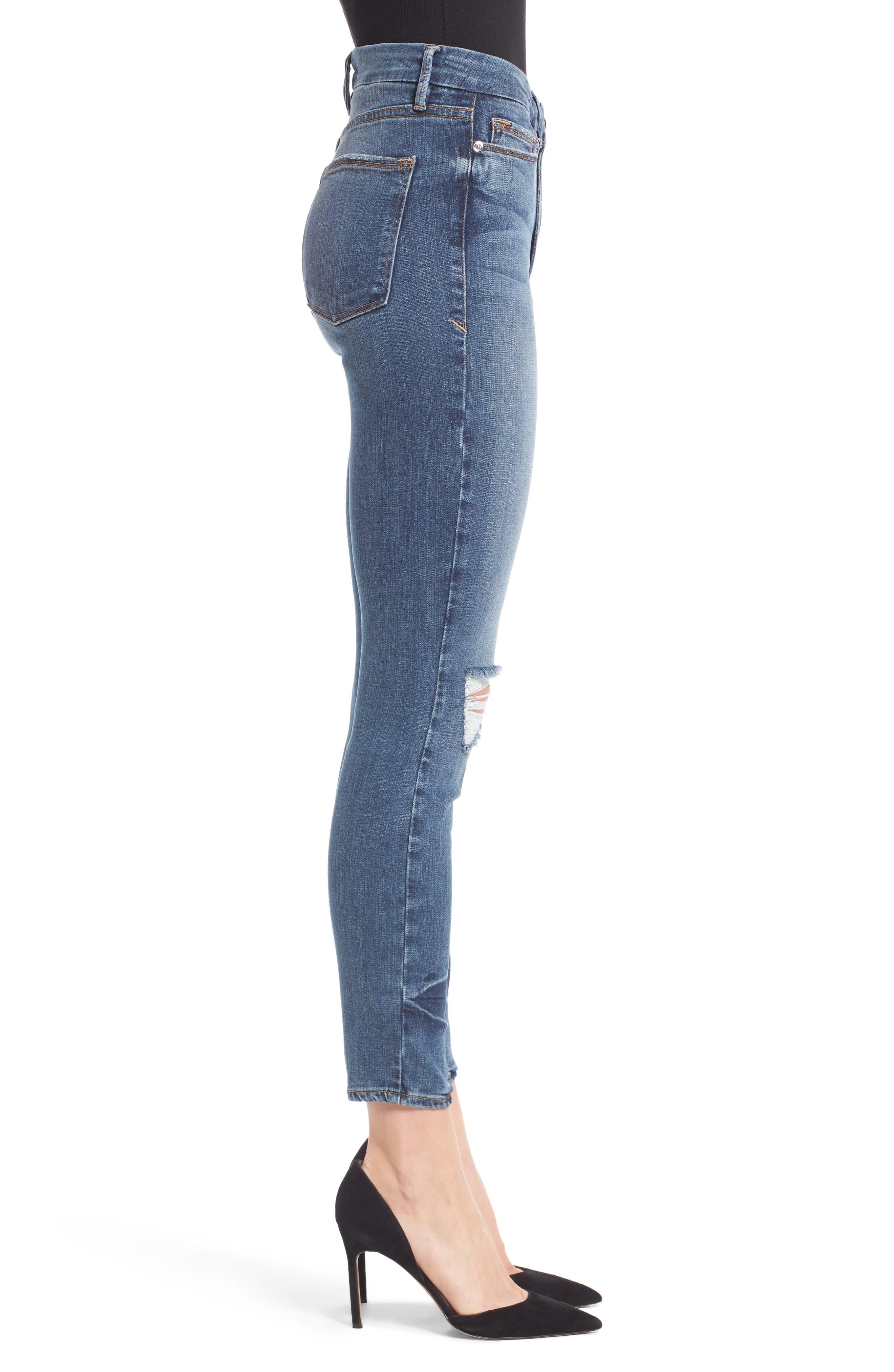 Alternate Image 3  - Good American Good Legs High Waist Ankle Skinny Jeans (Blue 084) (Regular & Plus Size)