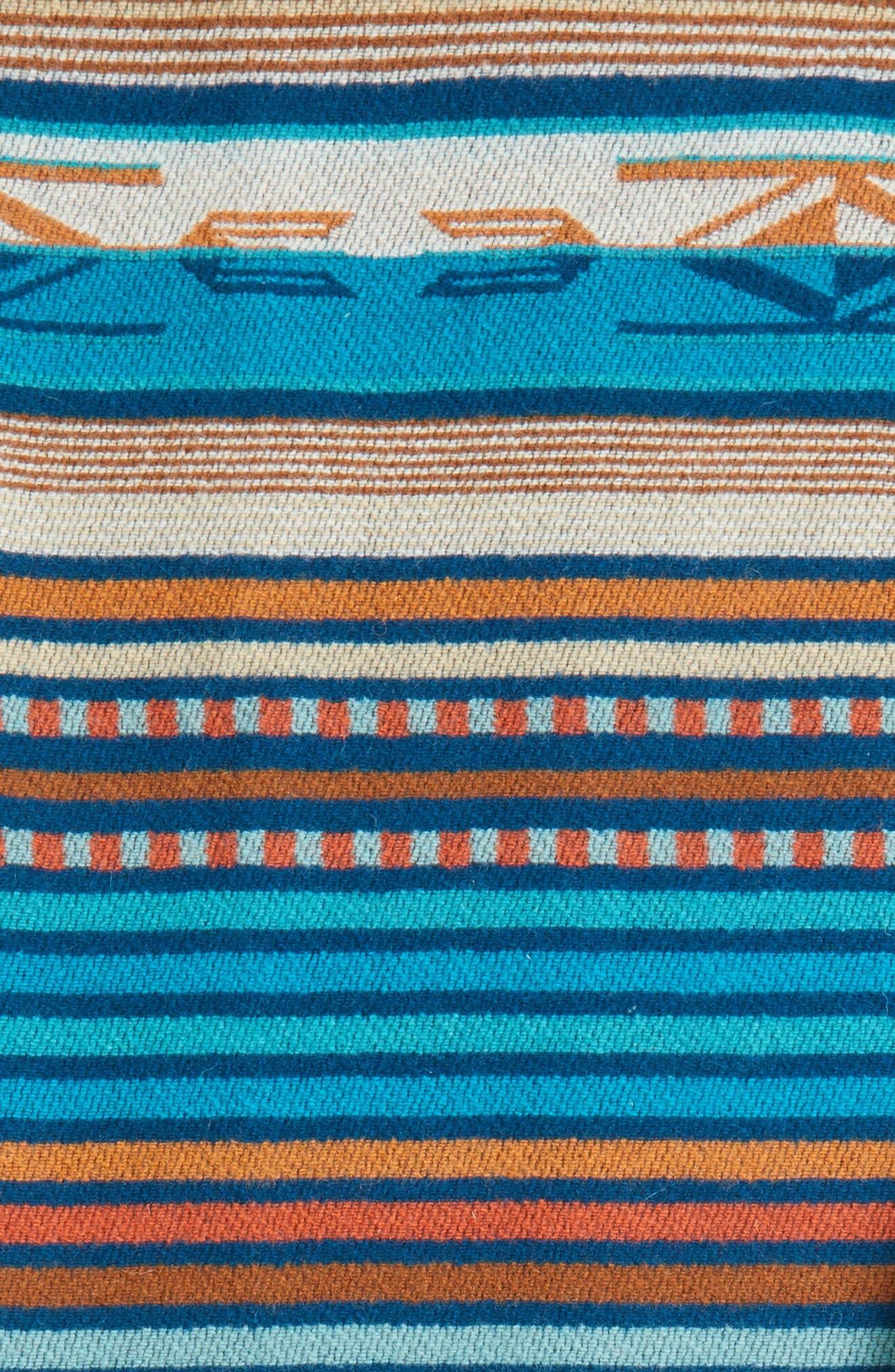'Chimayo' Fringe Wool Throw,                             Alternate thumbnail 3, color,                             Turquoise
