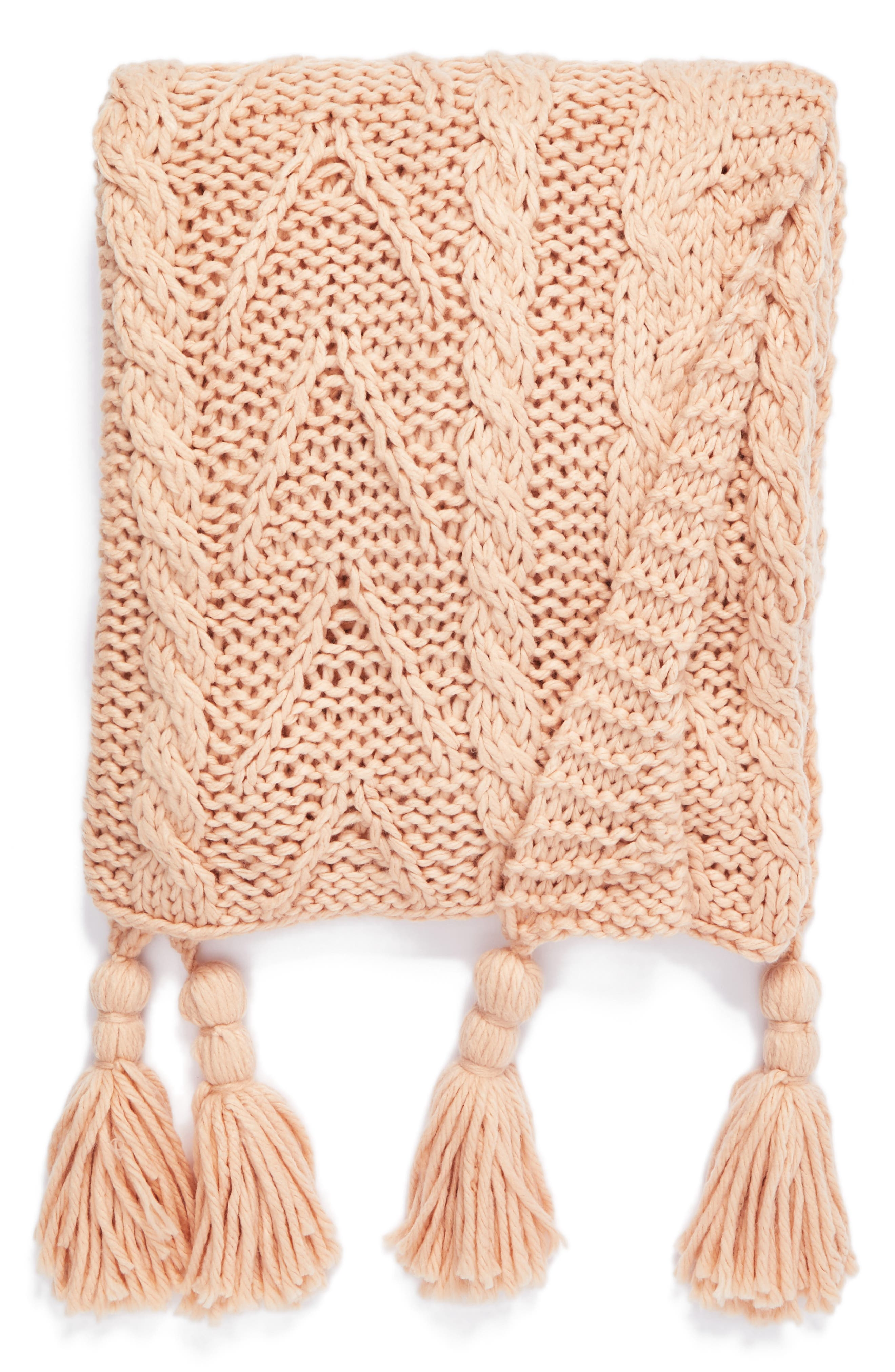 Cable Knit Tassel Throw Blanket,                             Main thumbnail 1, color,                             Pink Hero