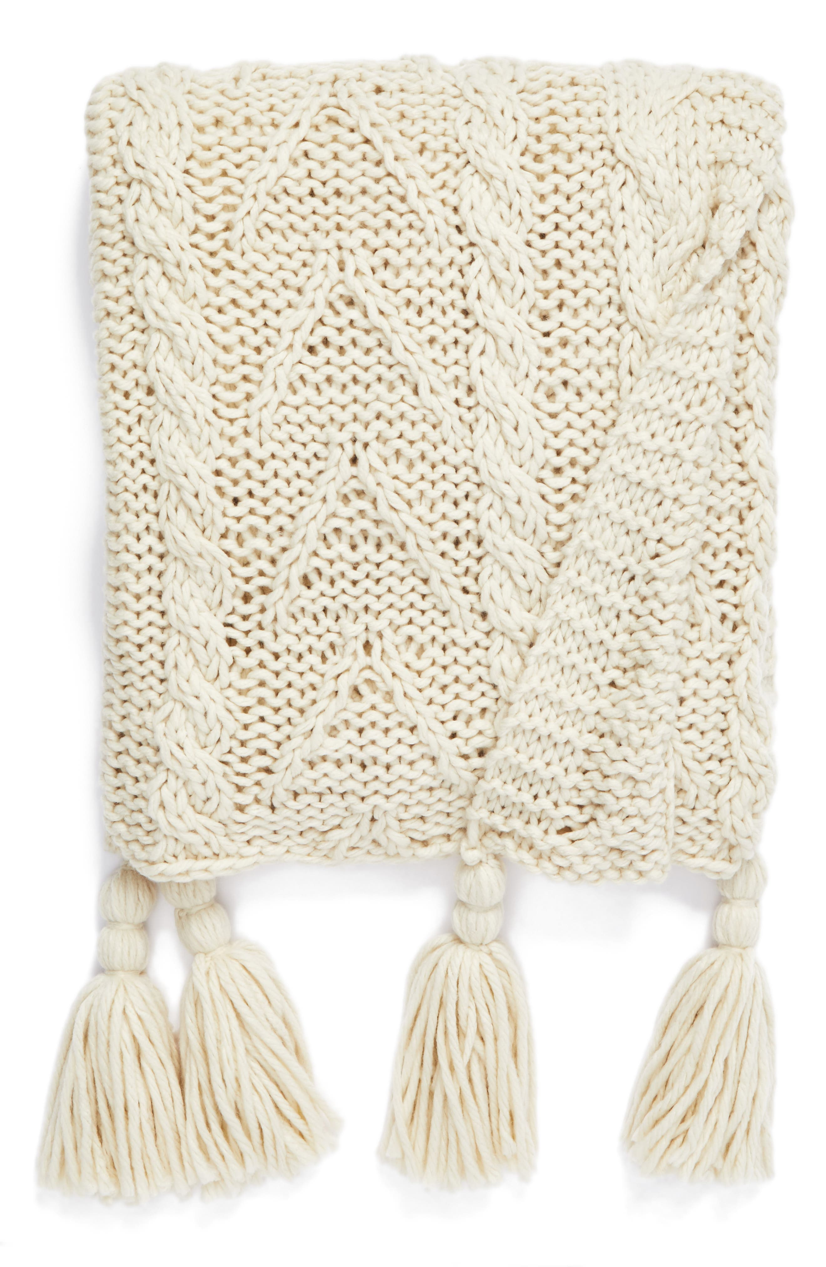 Nordstrom at Home Cable Knit Tassel Throw Blanket