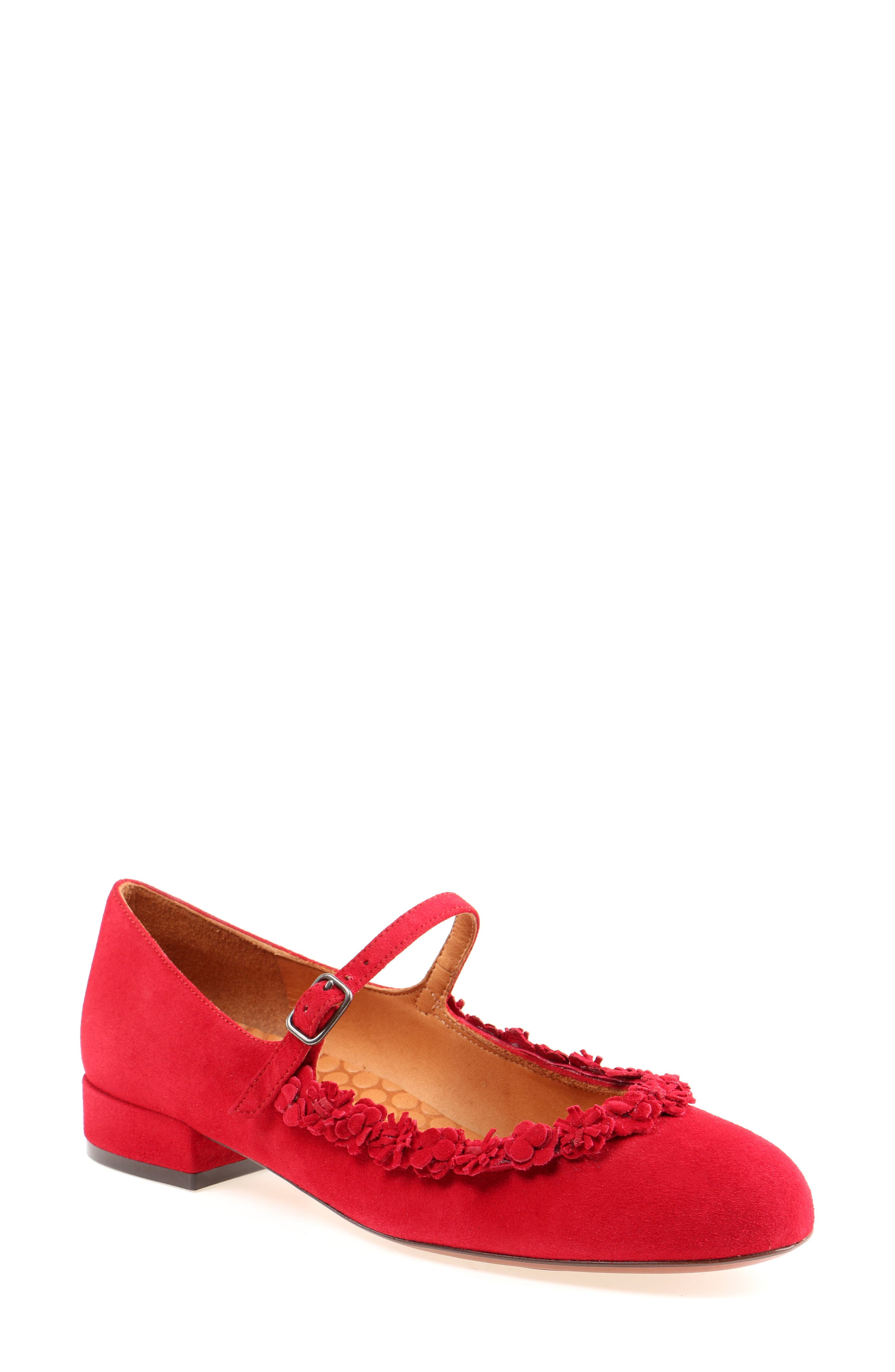 Rizo Mary Jane Flat,                         Main,                         color, Red