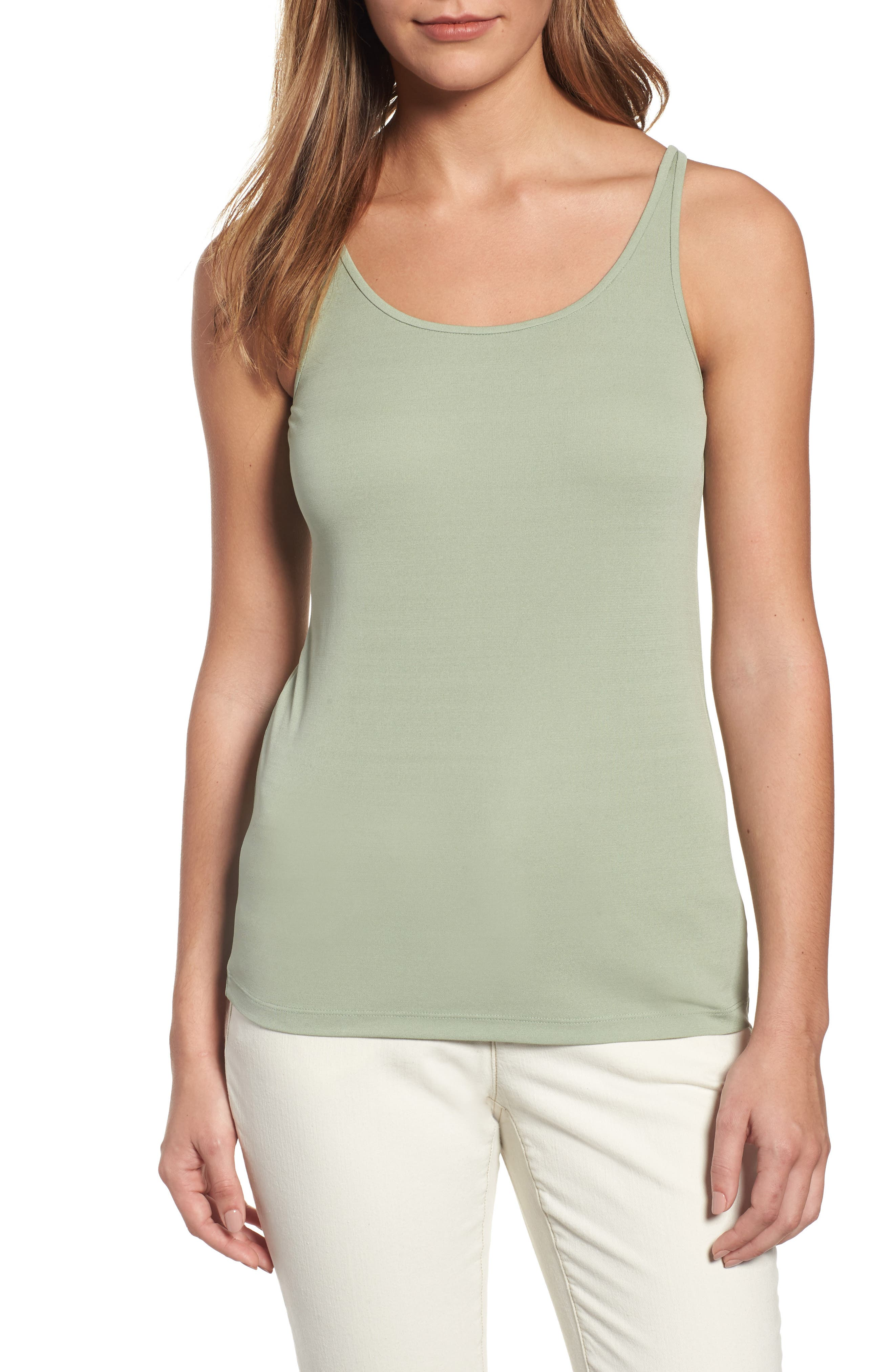 Alternate Image 1 Selected - Eileen Fisher Long Scoop Neck Camisole (Regular & Petite) (Online Only)