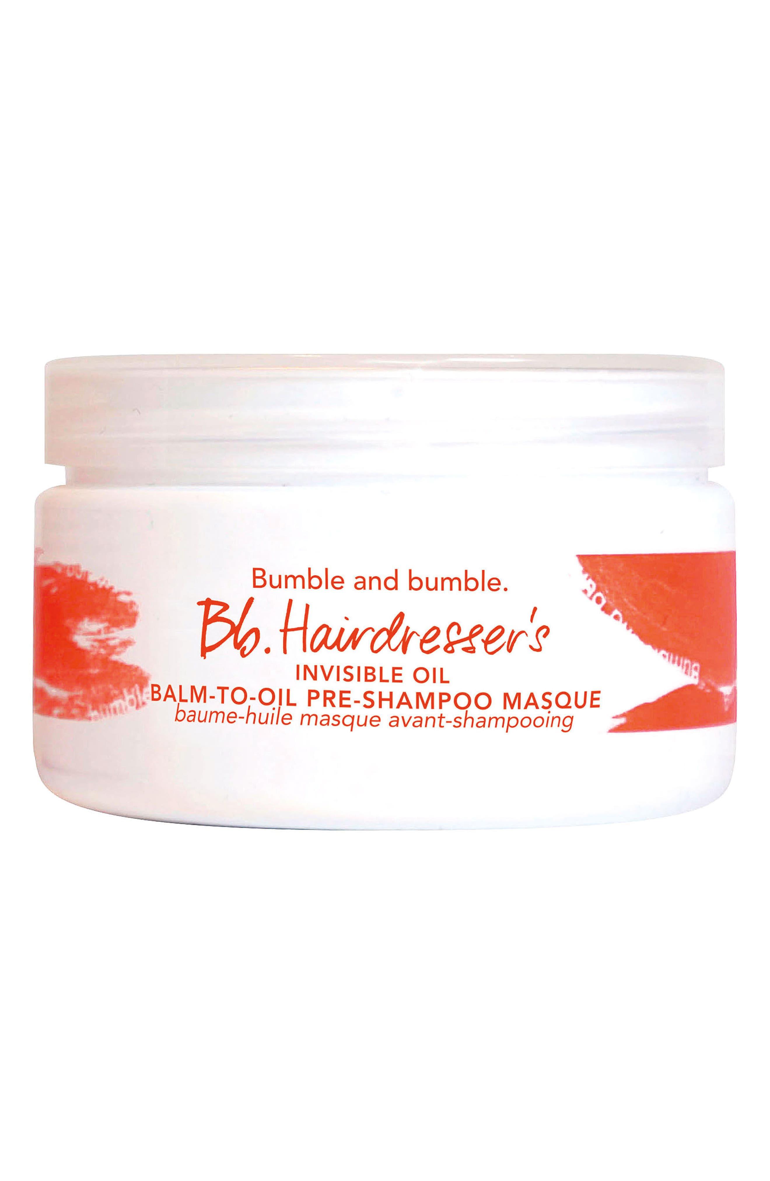 Hairdresser's Invisible Oil Balm-to-Oil Pre-Shampoo Masque,                         Main,                         color, No Color