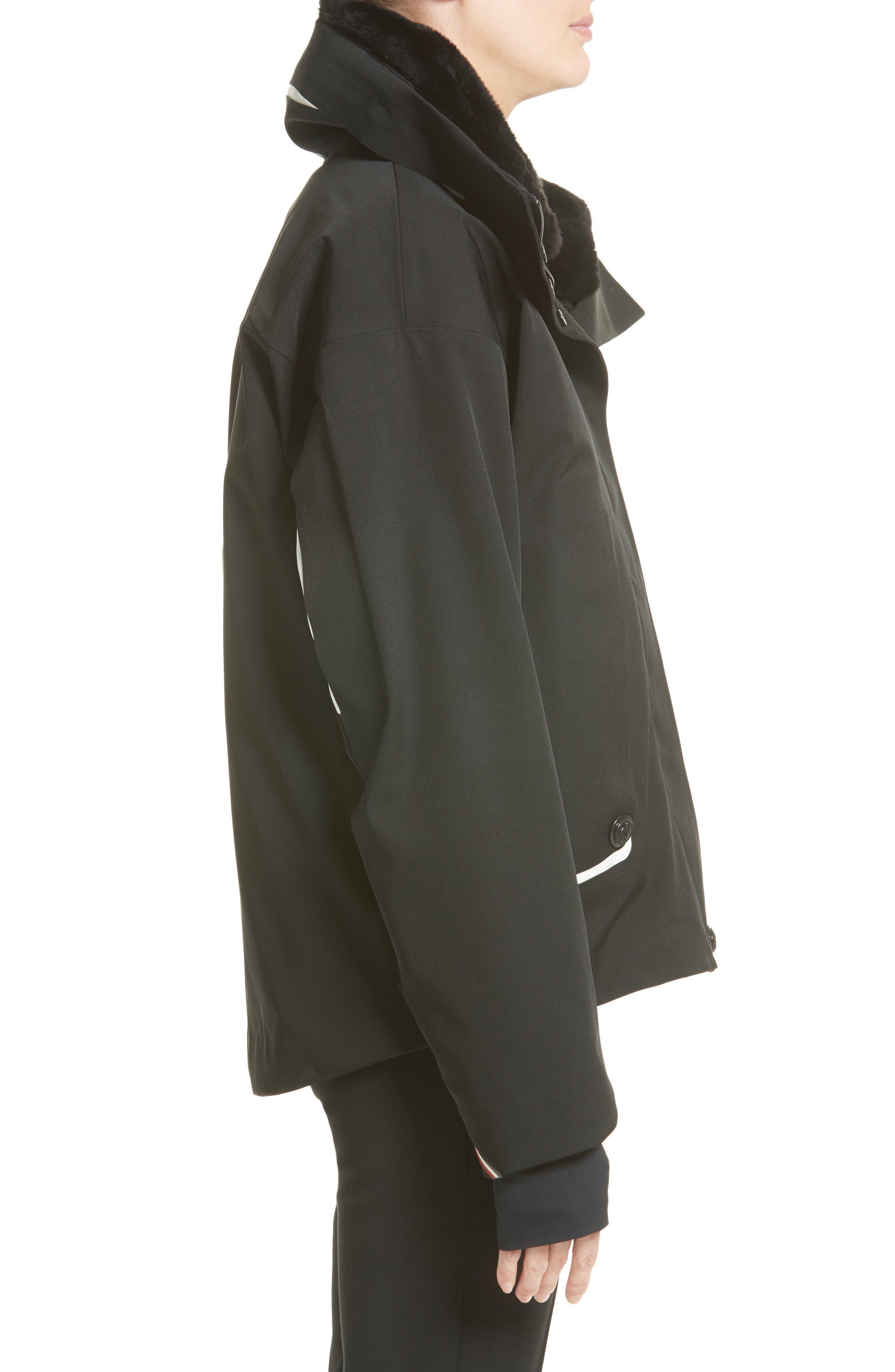 Troisvallees Jacket with Genuine Nutria Fur Collar,                             Alternate thumbnail 3, color,                             Black/ White