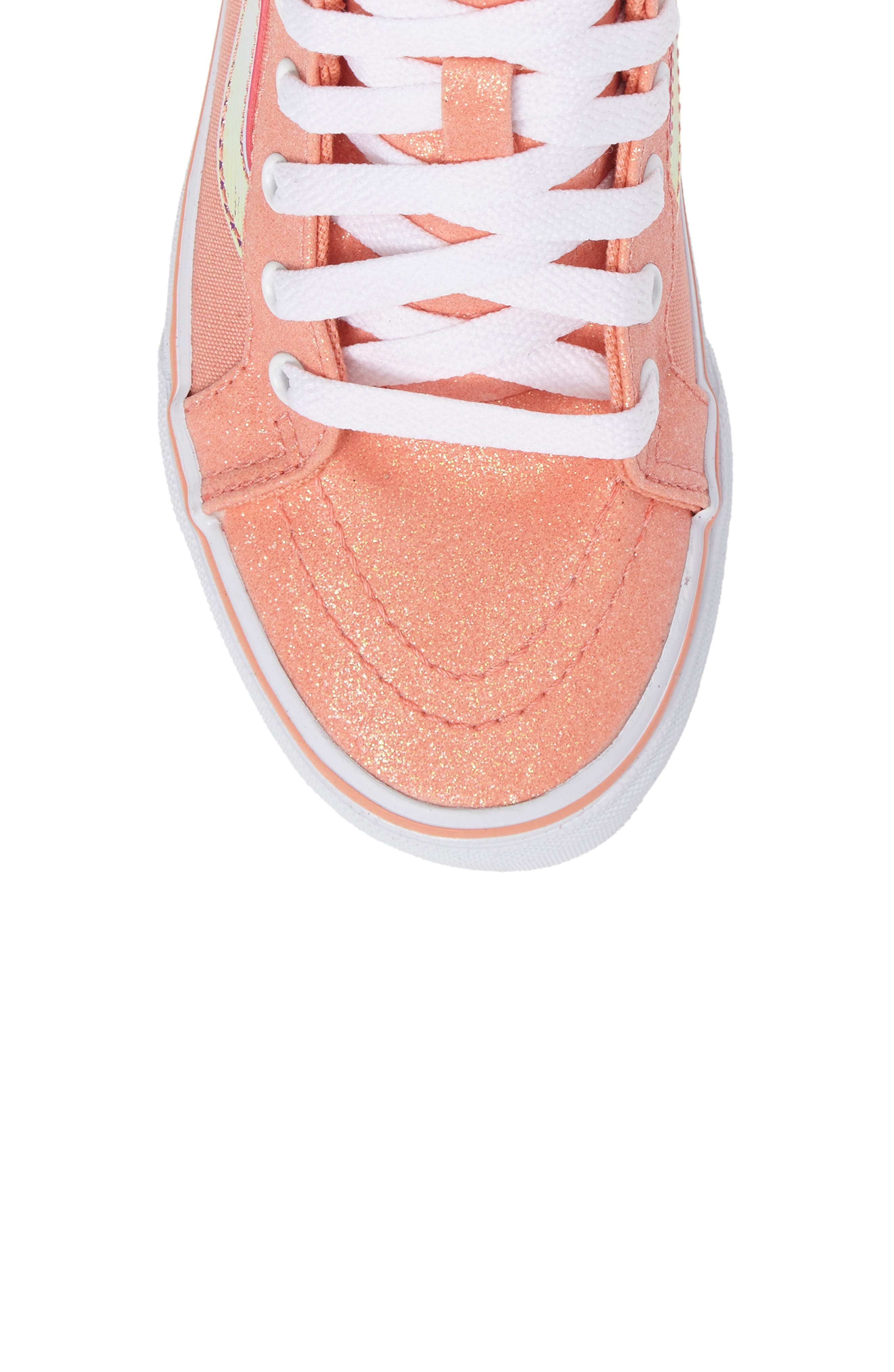 Sk8-Hi Zip Sneaker,                             Alternate thumbnail 5, color,                             Coral Glitter/ Iridescent