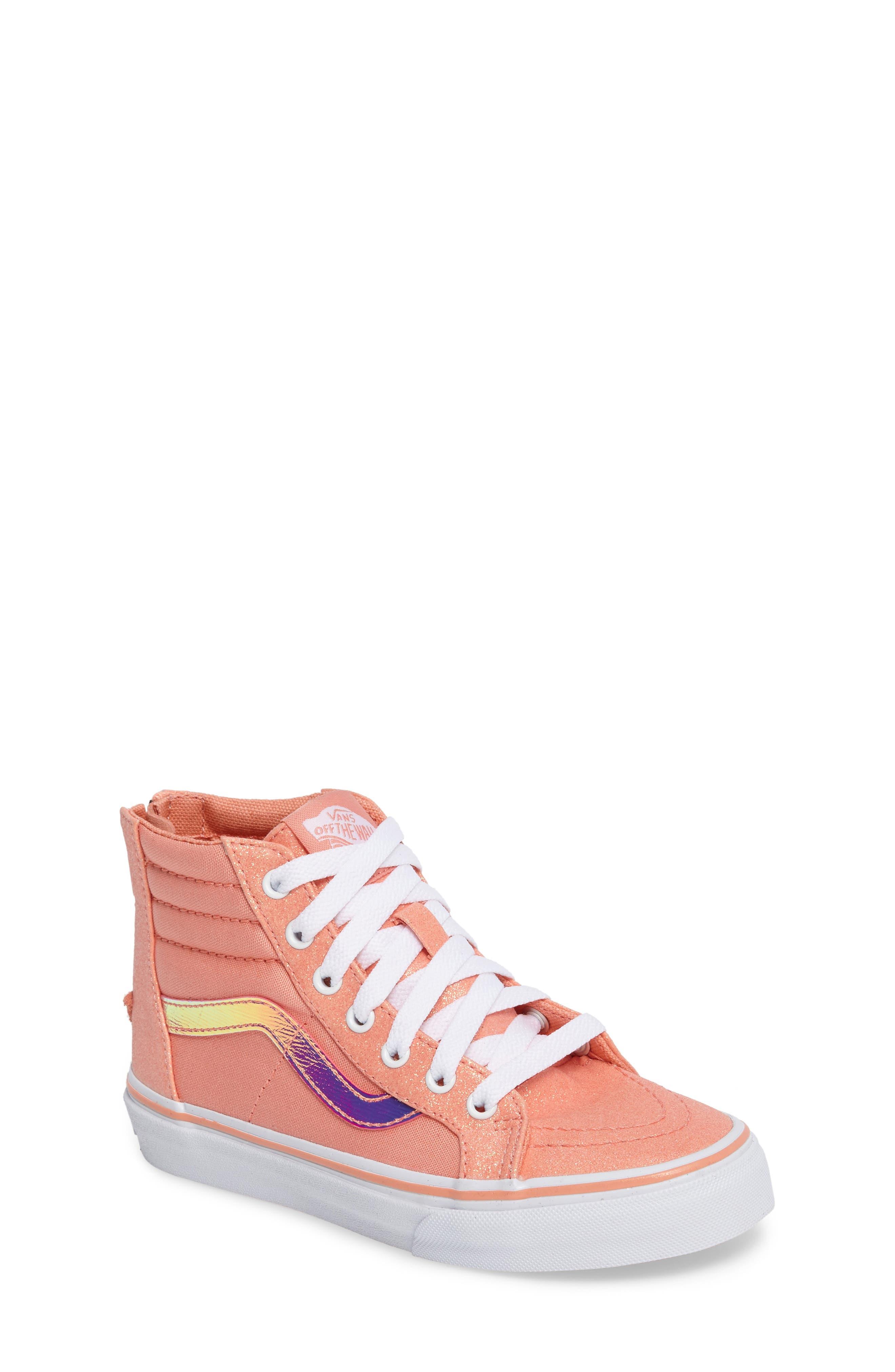 Sk8-Hi Zip Sneaker,                         Main,                         color, Coral Glitter/ Iridescent