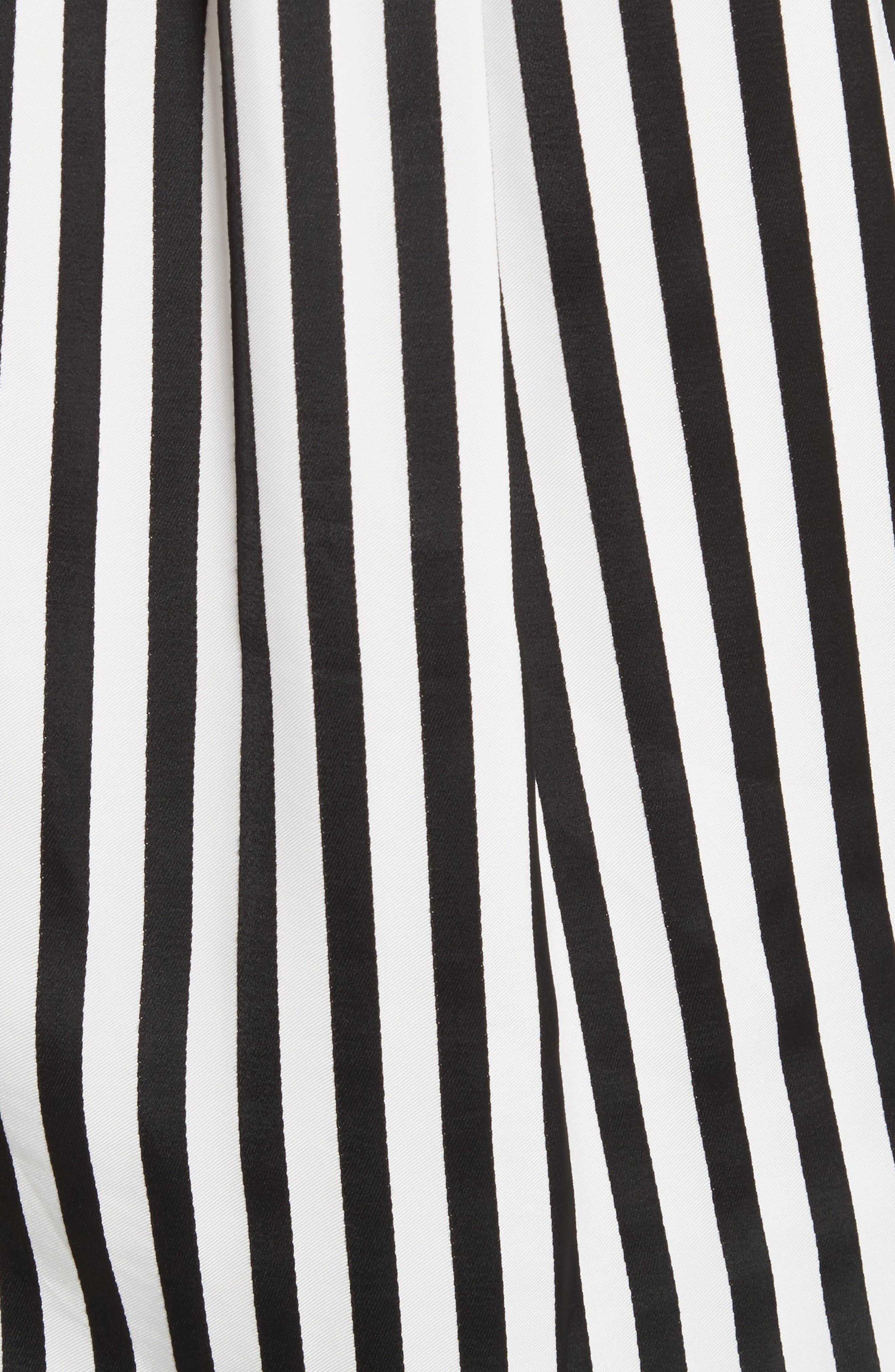 Stripe Tie Waist Blouse,                             Alternate thumbnail 6, color,                             Black/ White