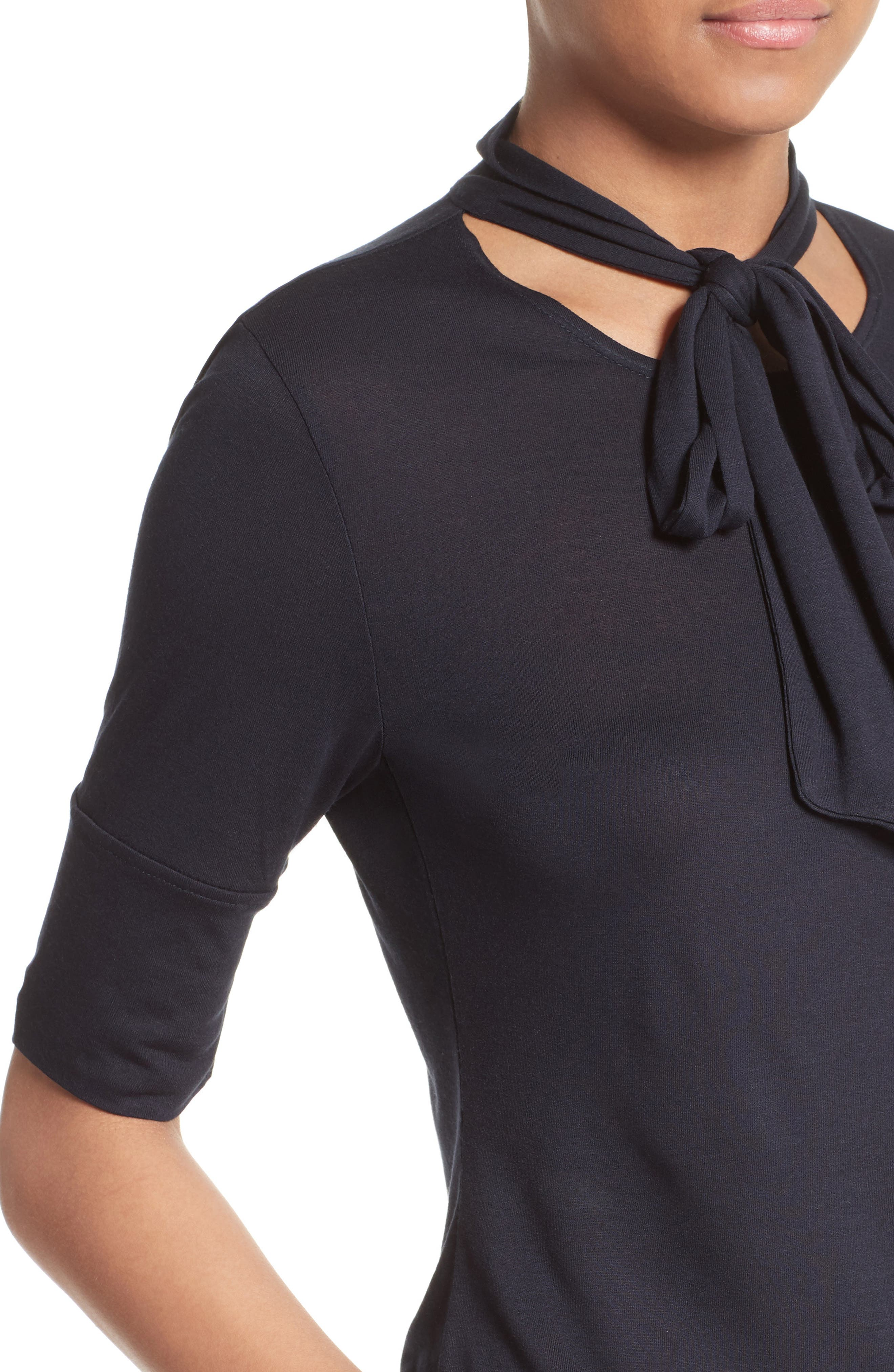Tie Neck Top,                             Alternate thumbnail 5, color,                             Navy