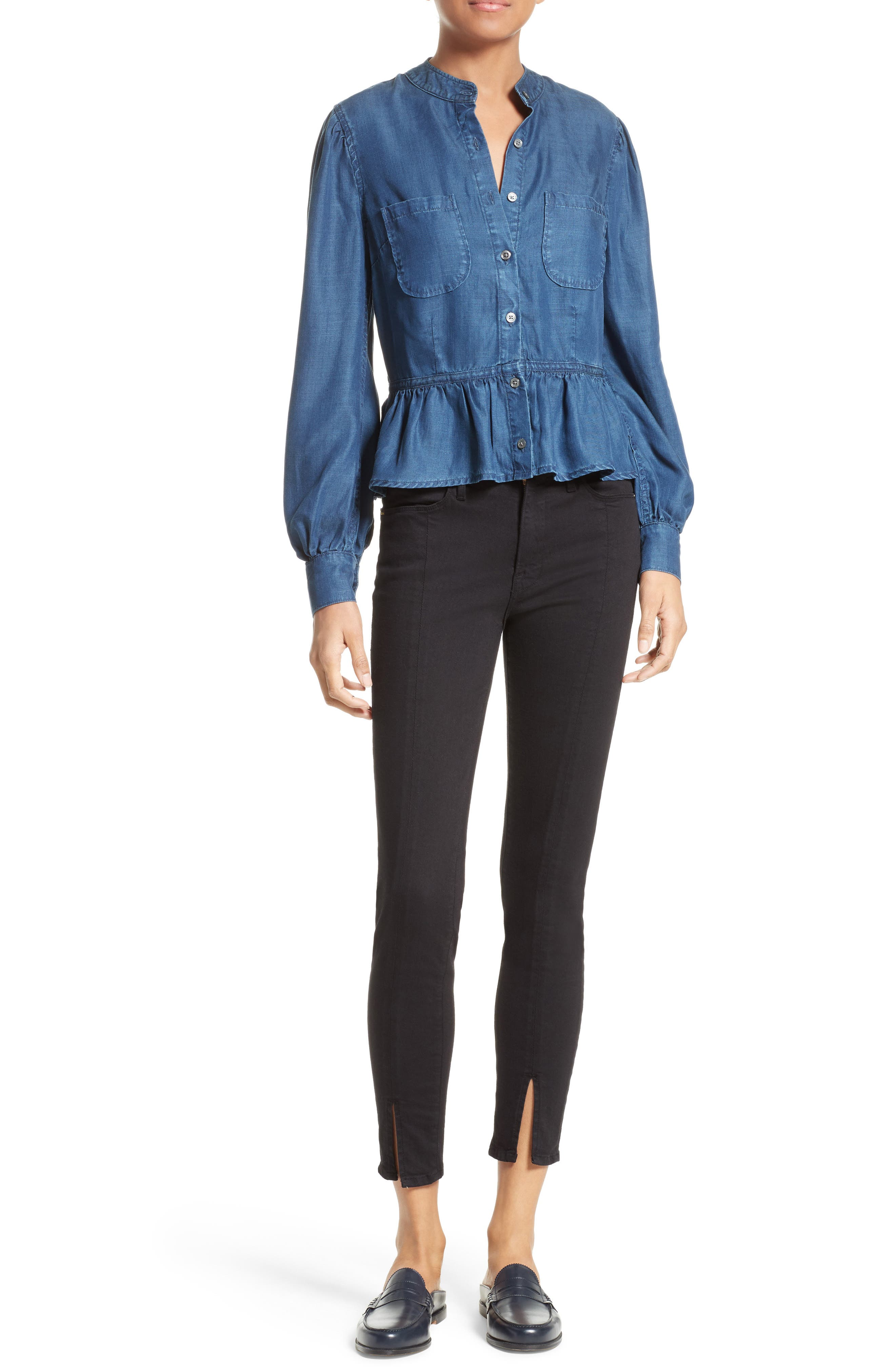 Alternate Image 2  - FRAME Chambray Peplum Top (Nordstrom Exclusive)