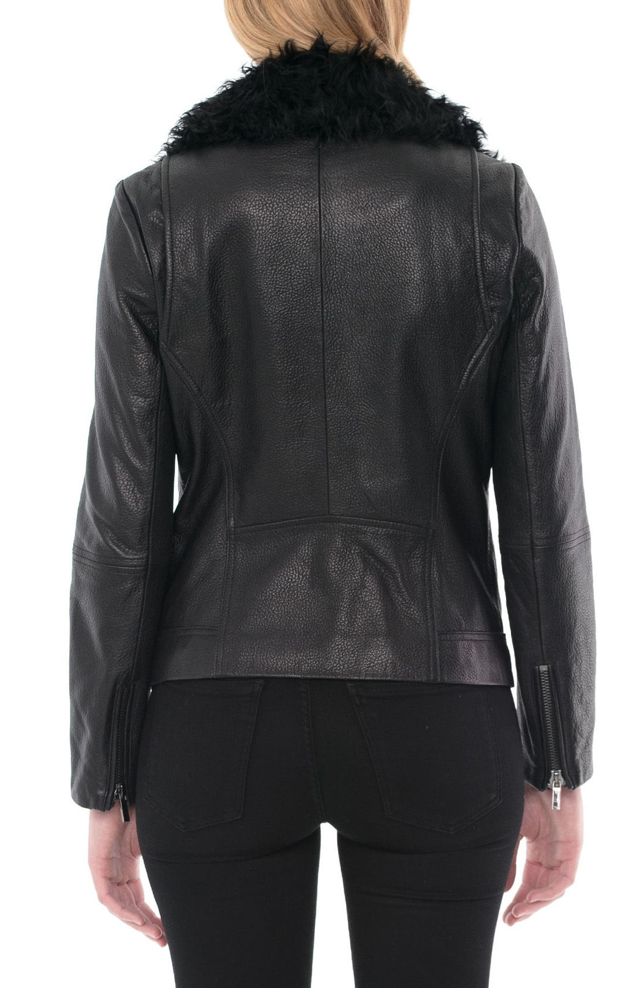 Marianne Genuine Shearling Collar Moto Jacket,                             Alternate thumbnail 2, color,                             Black