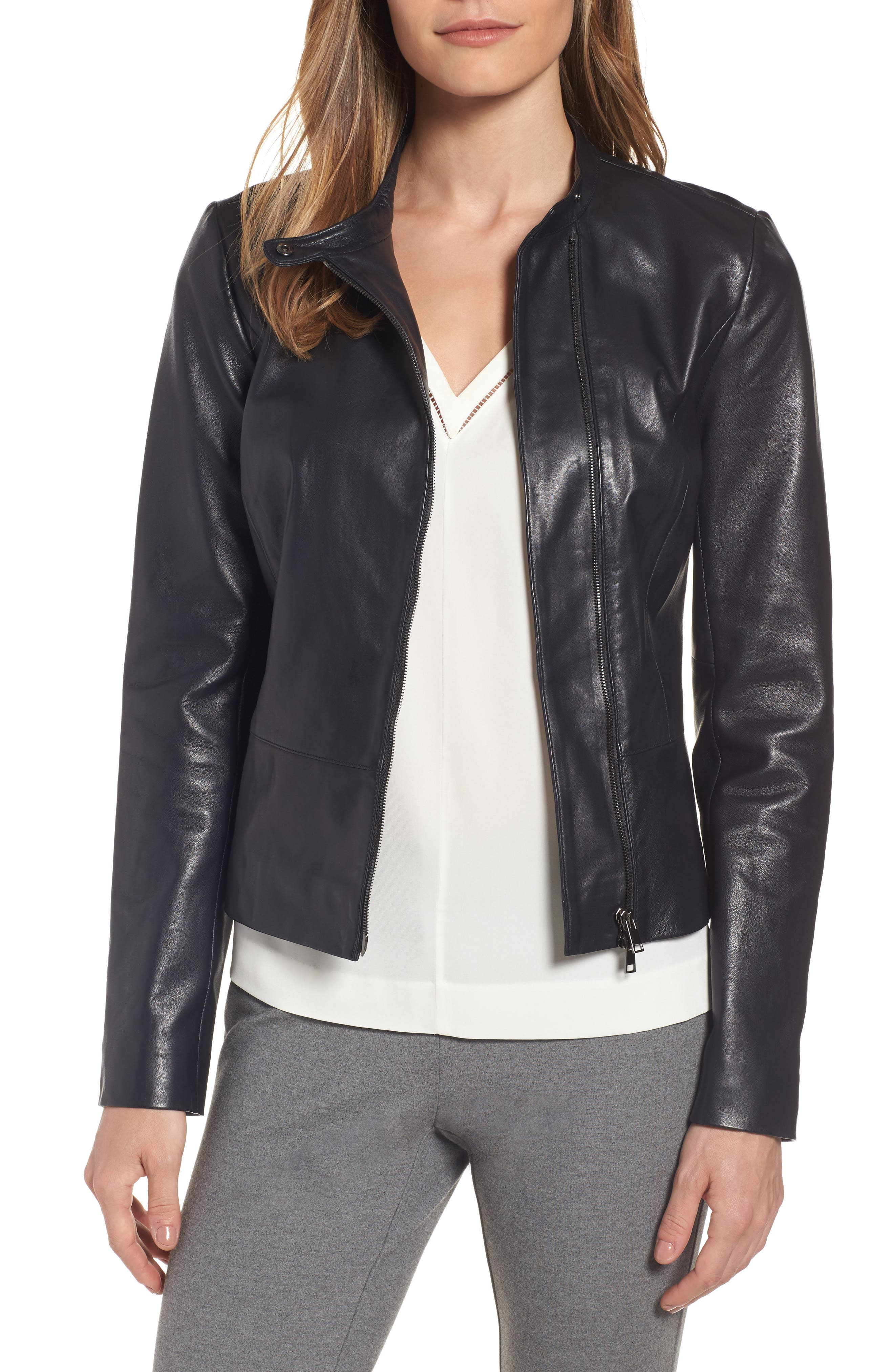 CLASSIQUES ENTIER<SUP>®</SUP> Band Collar Leather Biker Jacket