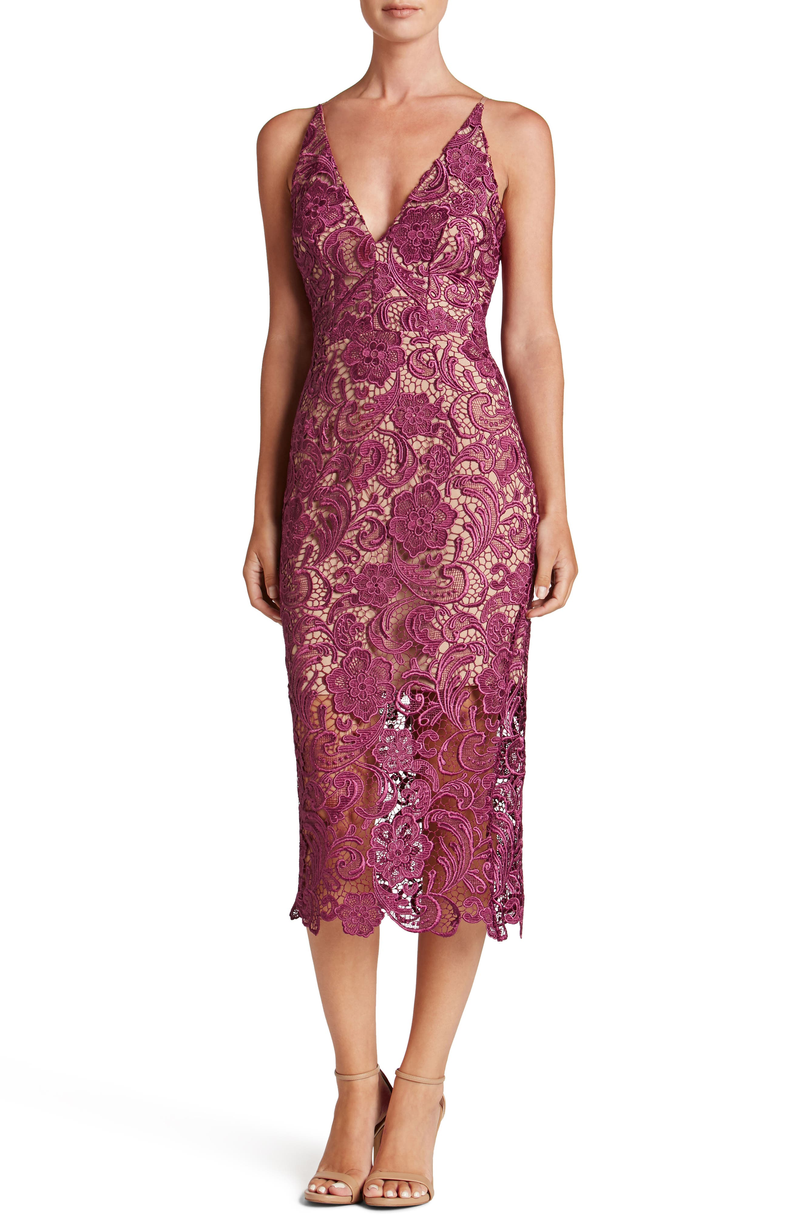 Main Image - Dress the Population 'Marie' Lace Midi Dress