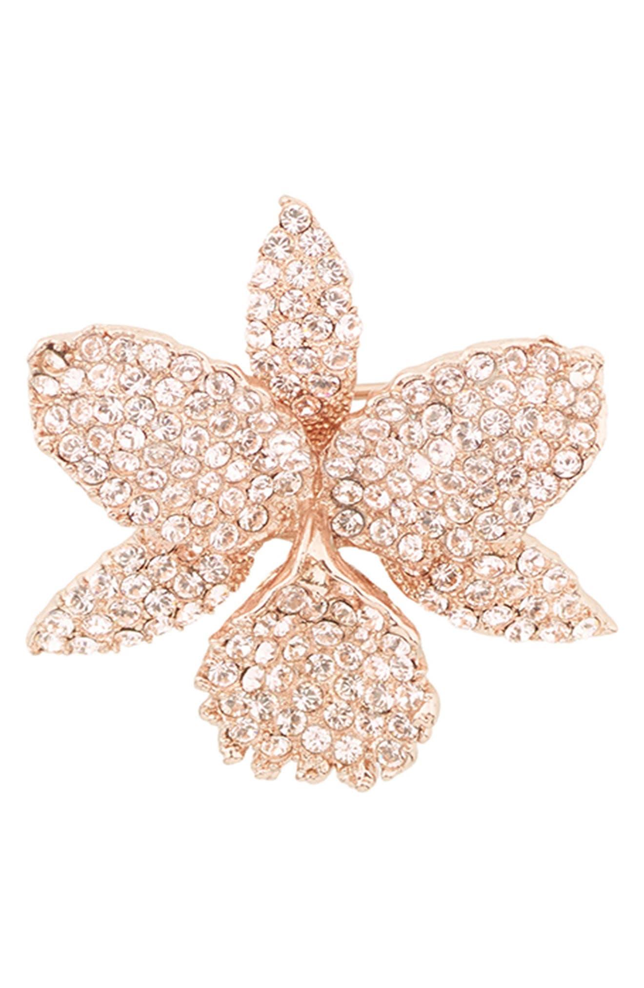 Orchid Crystal Pin,                             Main thumbnail 1, color,                             Rose Gold
