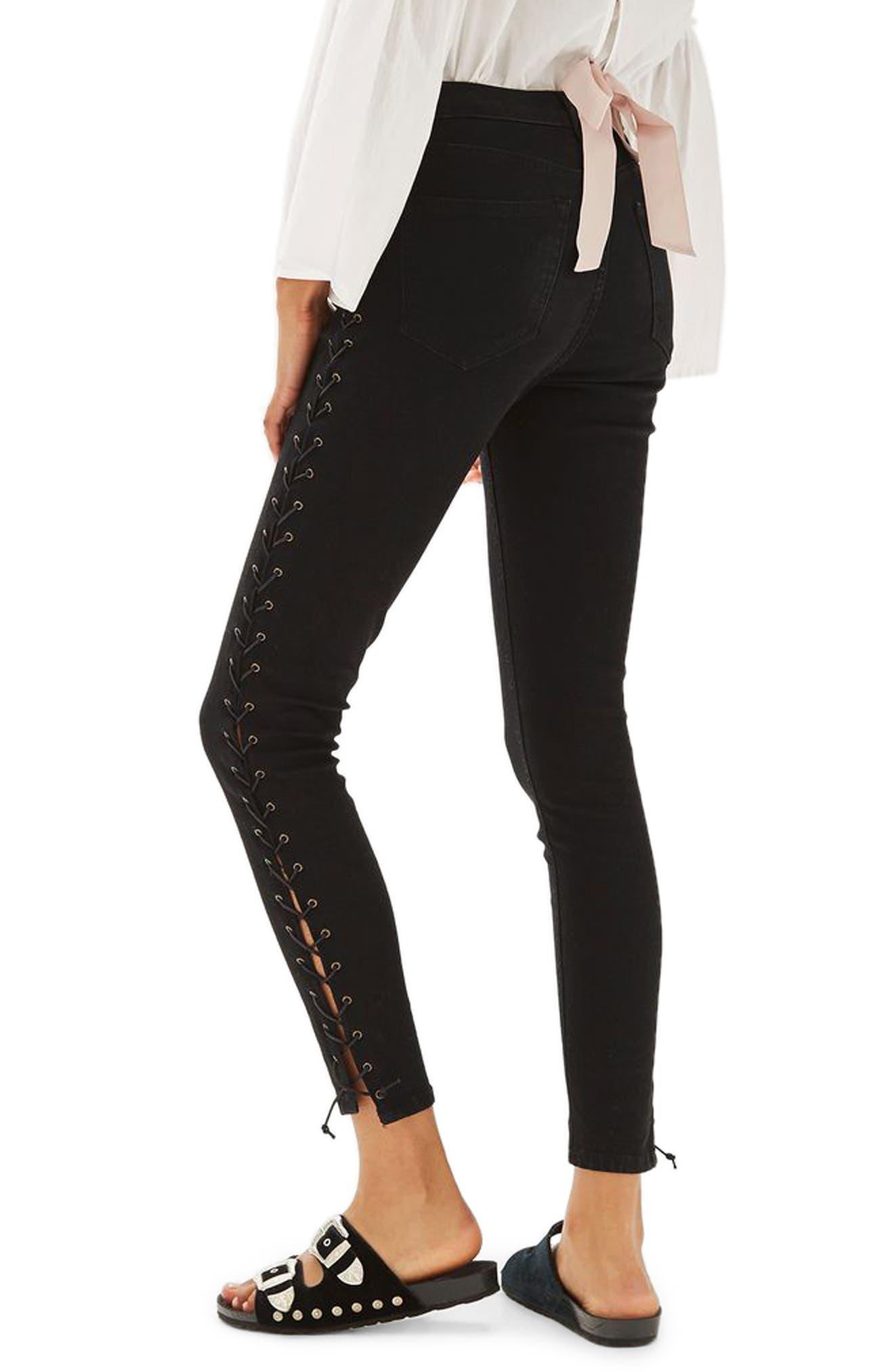 Jamie Side Lace-Up Skinny Jeans,                             Alternate thumbnail 3, color,                             Black