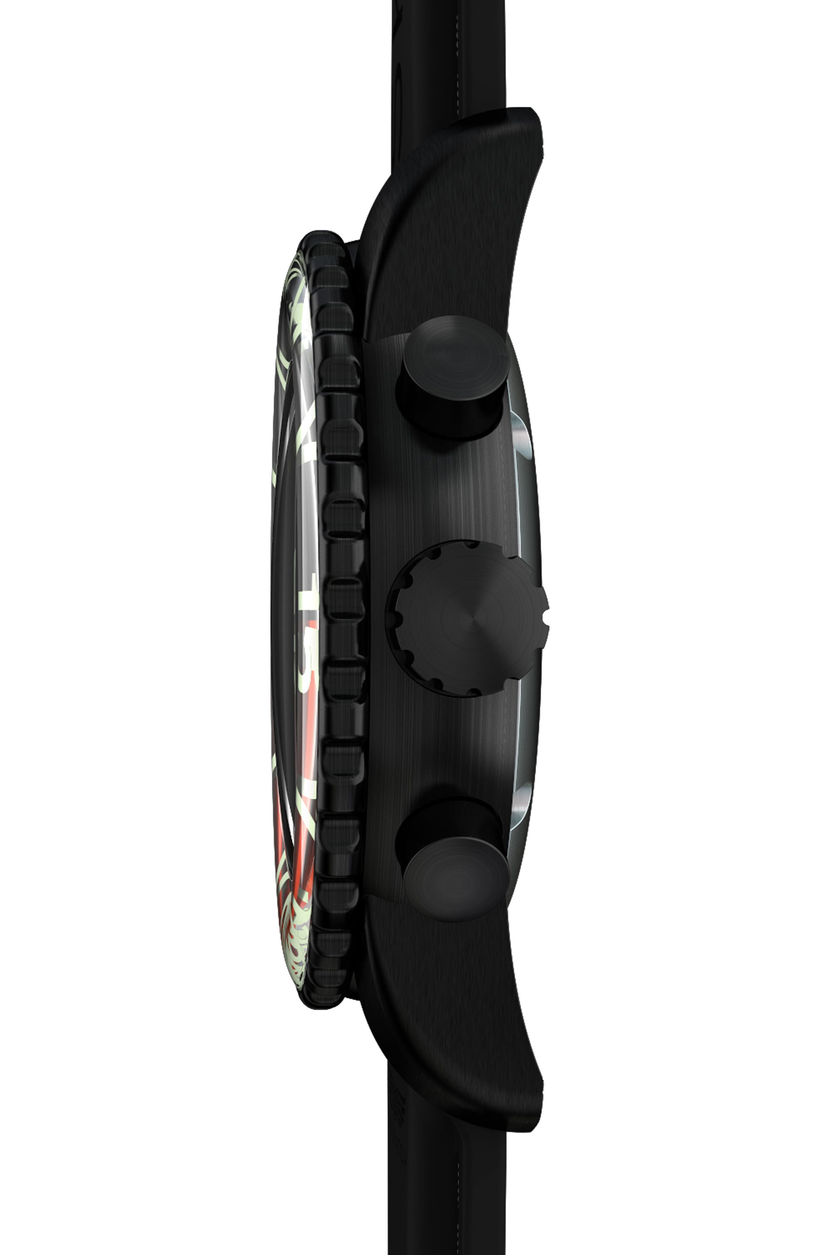 Classic Chronograph Silicone Strap Watch, 44mm,                             Alternate thumbnail 3, color,                             Black/ Black