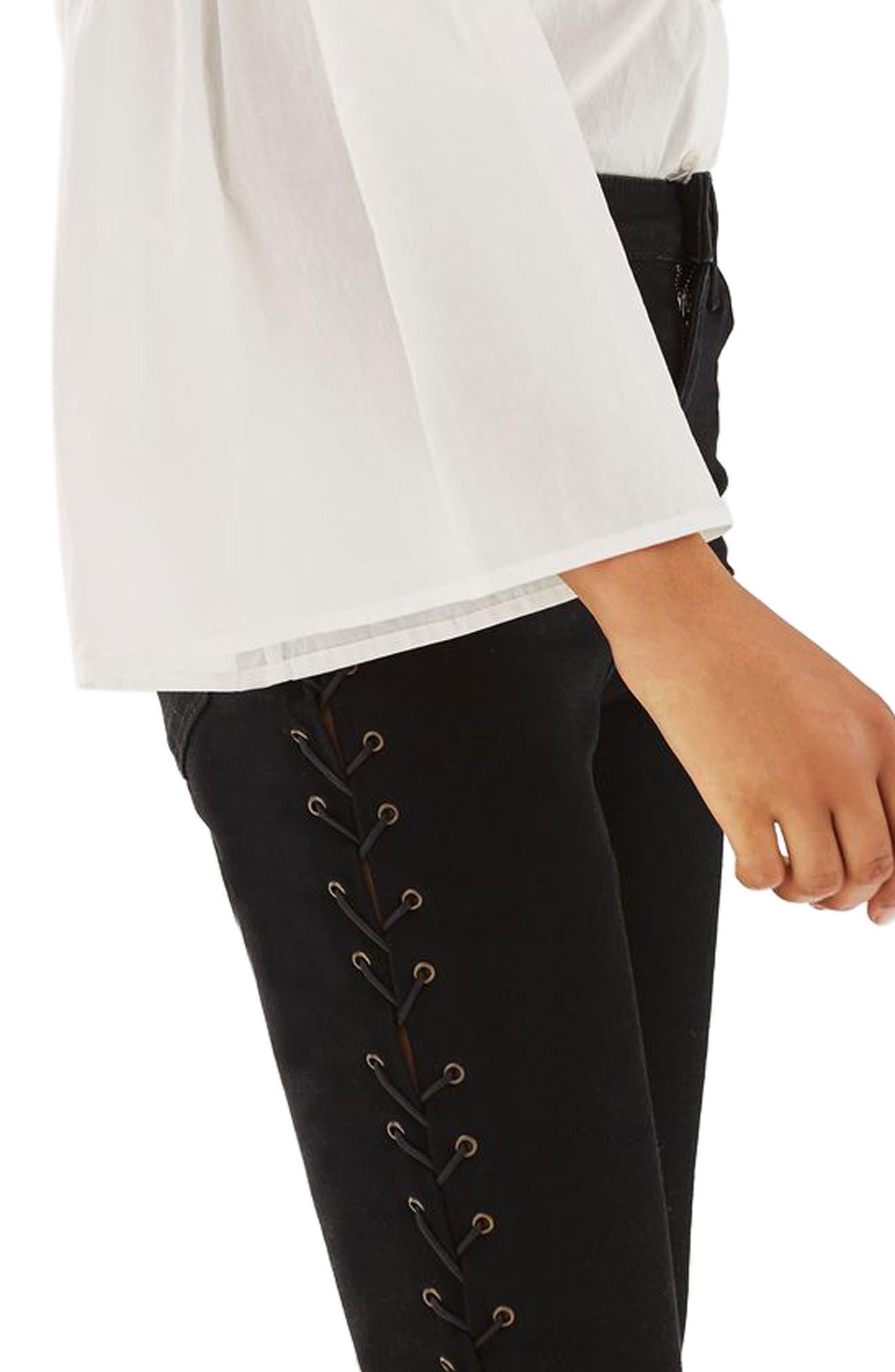 Jamie Side Lace-Up Skinny Jeans,                             Alternate thumbnail 4, color,                             Black