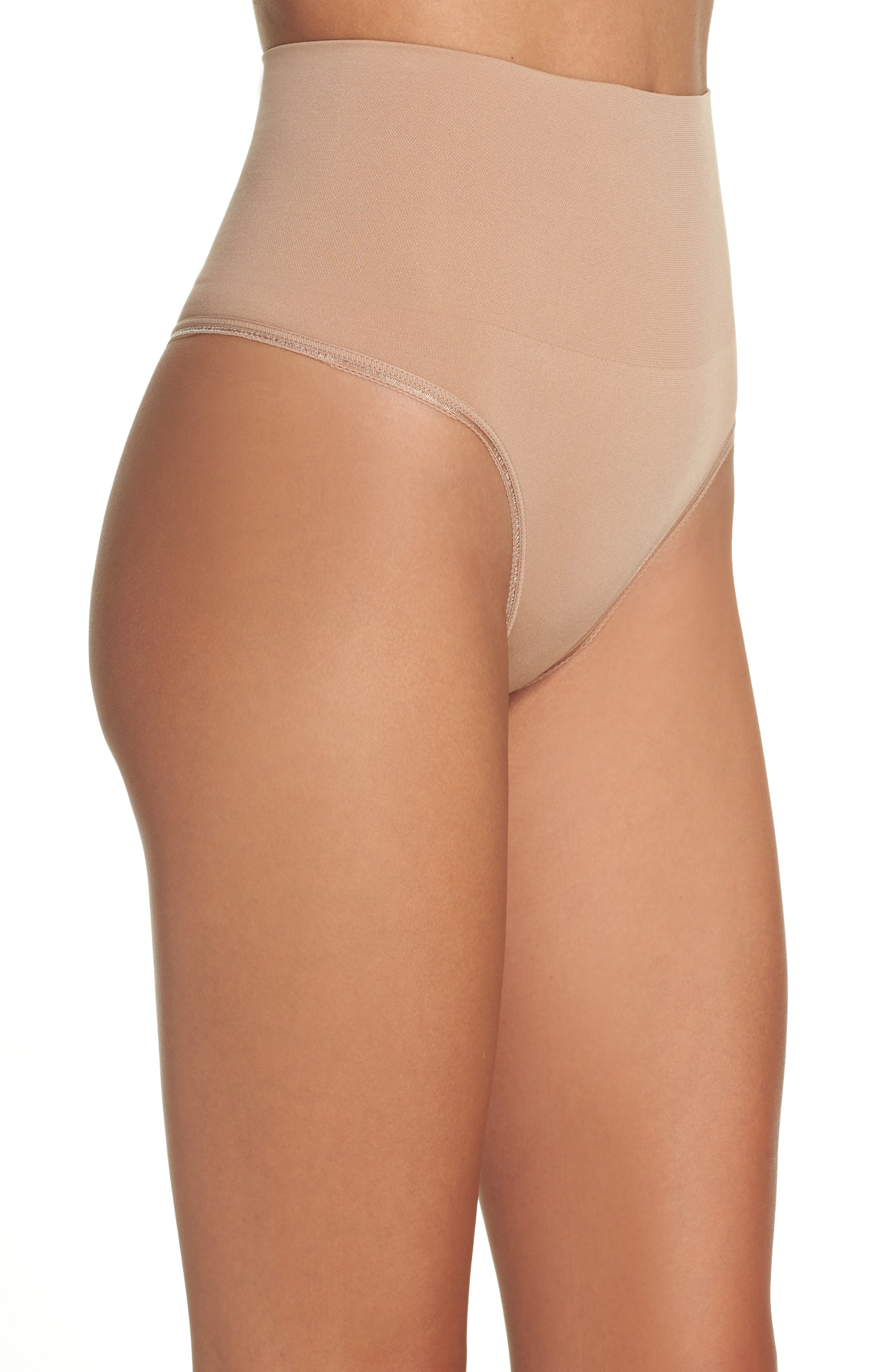 Ultralight Seamless Shaping Thong,                             Alternate thumbnail 3, color,                             Almond